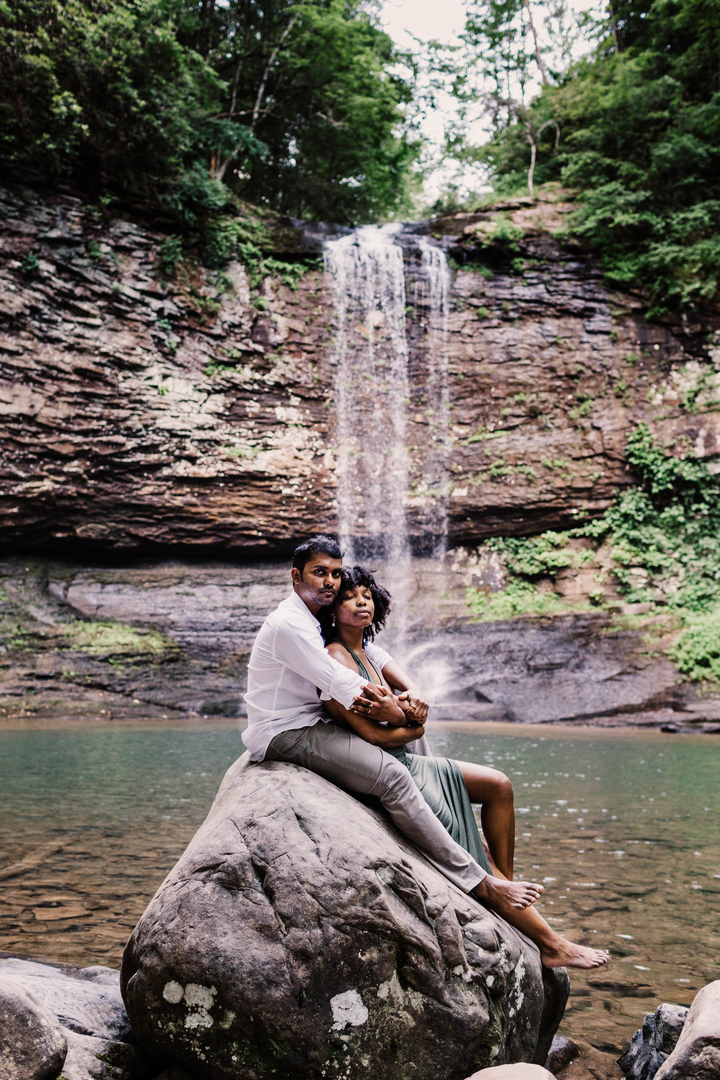 Snuggling by Waterfall Asheville Adventure Engagement | Asheville Elopement Photographer 2