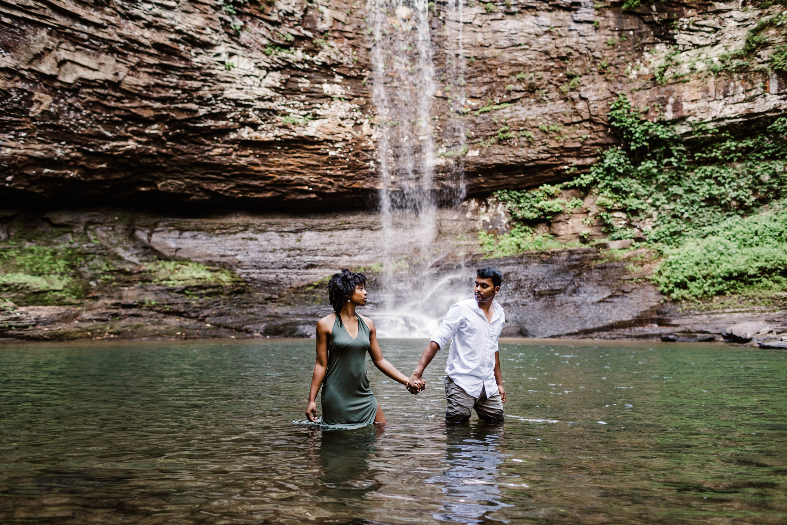 Adventure Engagement at a Waterfall | Asheville Adventure Wedding Photographers 1