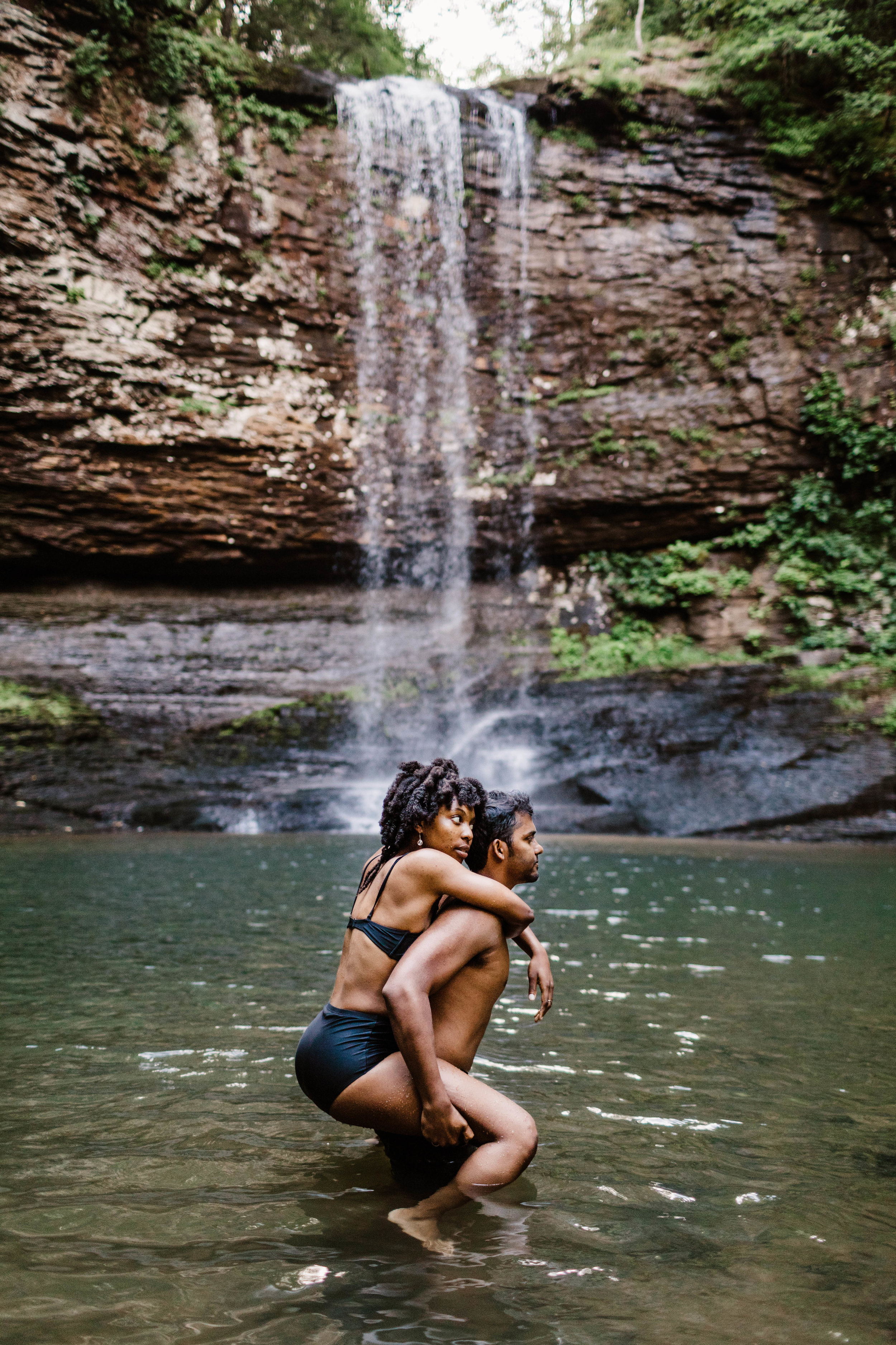North Carolina Steamy Waterfall Engagement Session | Best Asheville Elopement Photographer