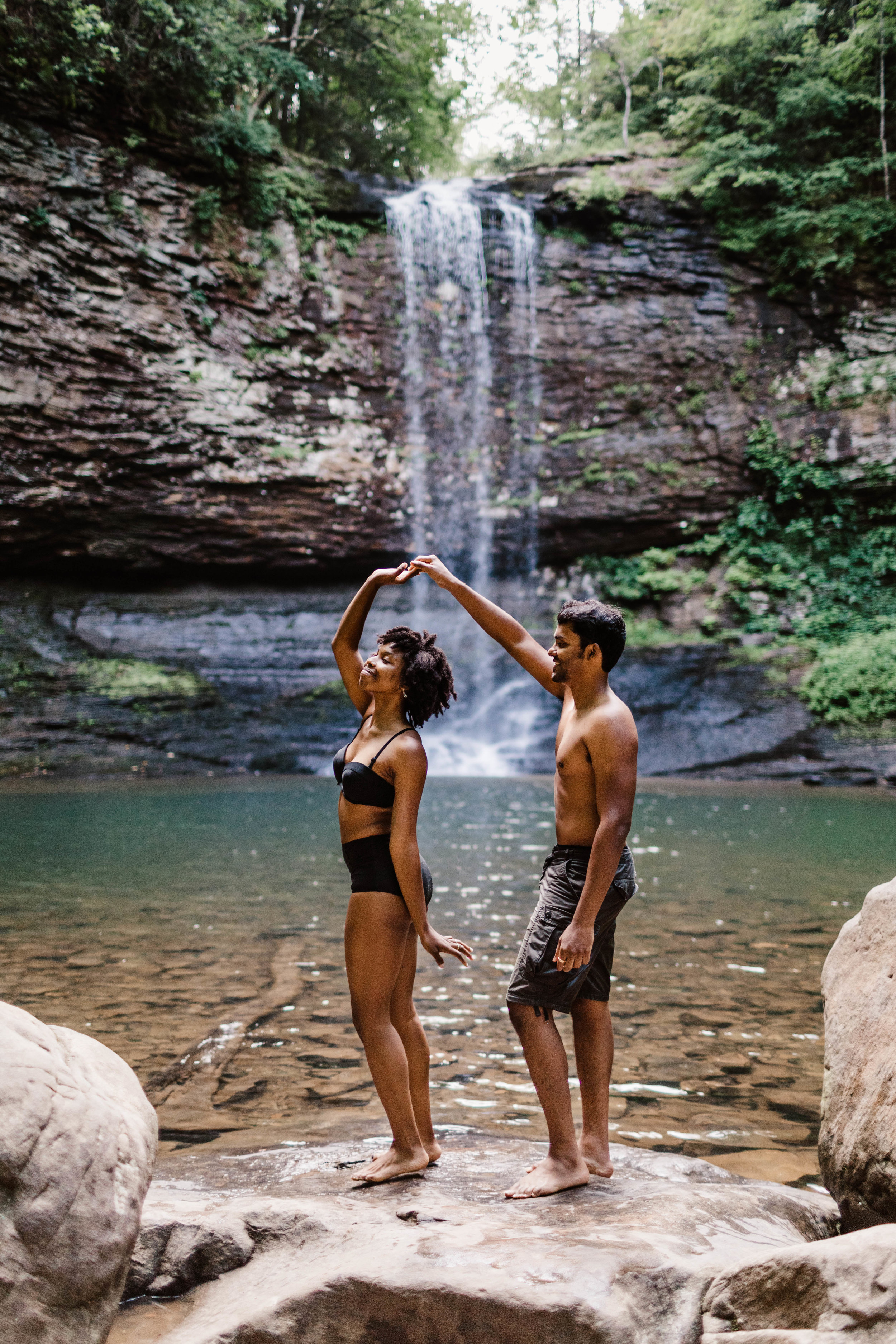Dancing by Mountain Waterfall Adventure Session | Asheville Elopement Photographer 2