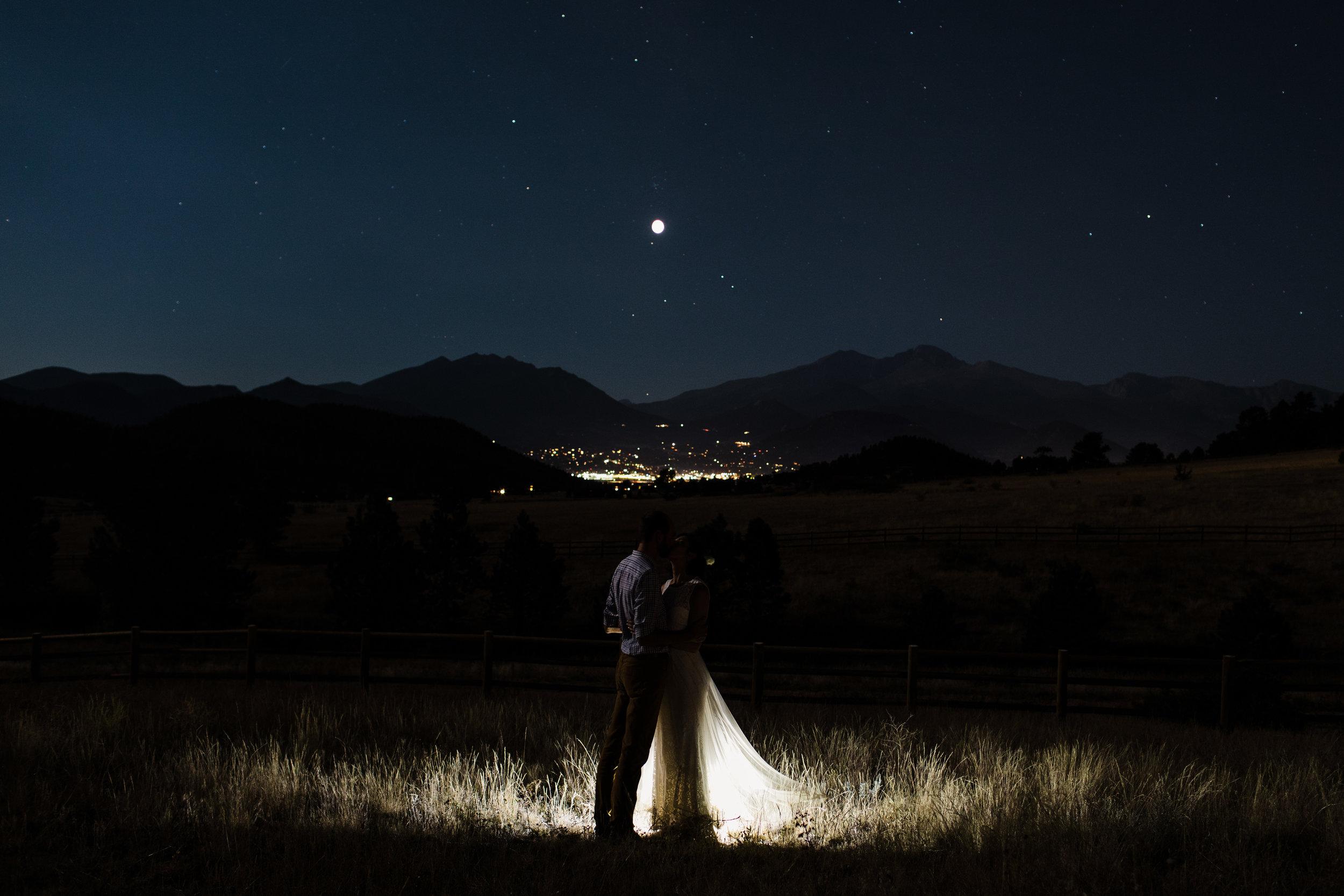 Full moon Rocky Mountain elopement at night | Colorado adventure wedding photographer