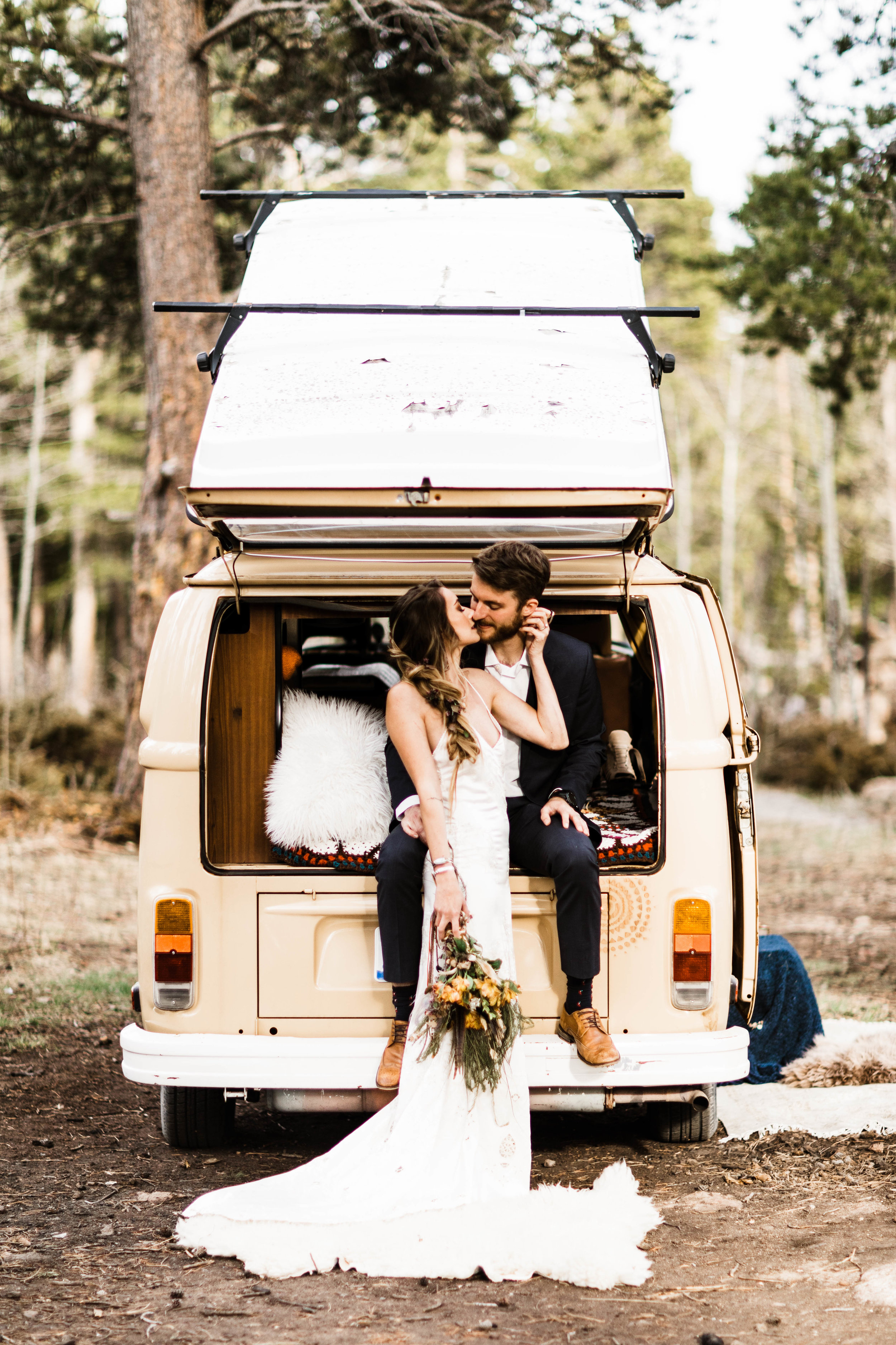 Rocky Mountain Camper Van Life Colorado Elopement | Colorado Adventure Wedding Photographers