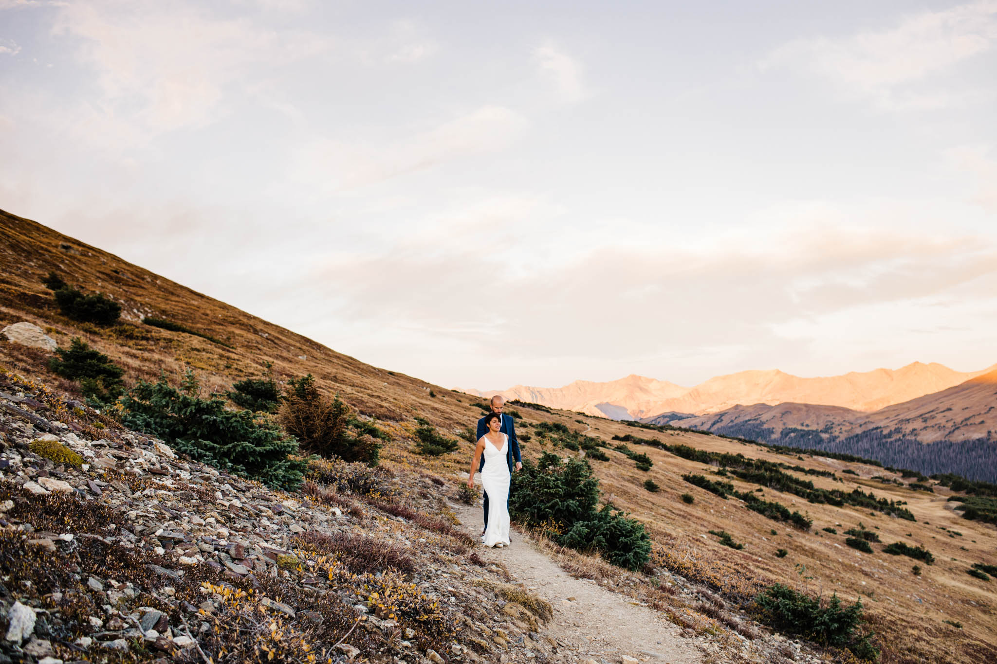 Mountain post-wedding adventure session in the Rocky Mountains | Best Colorado Wedding Photographers