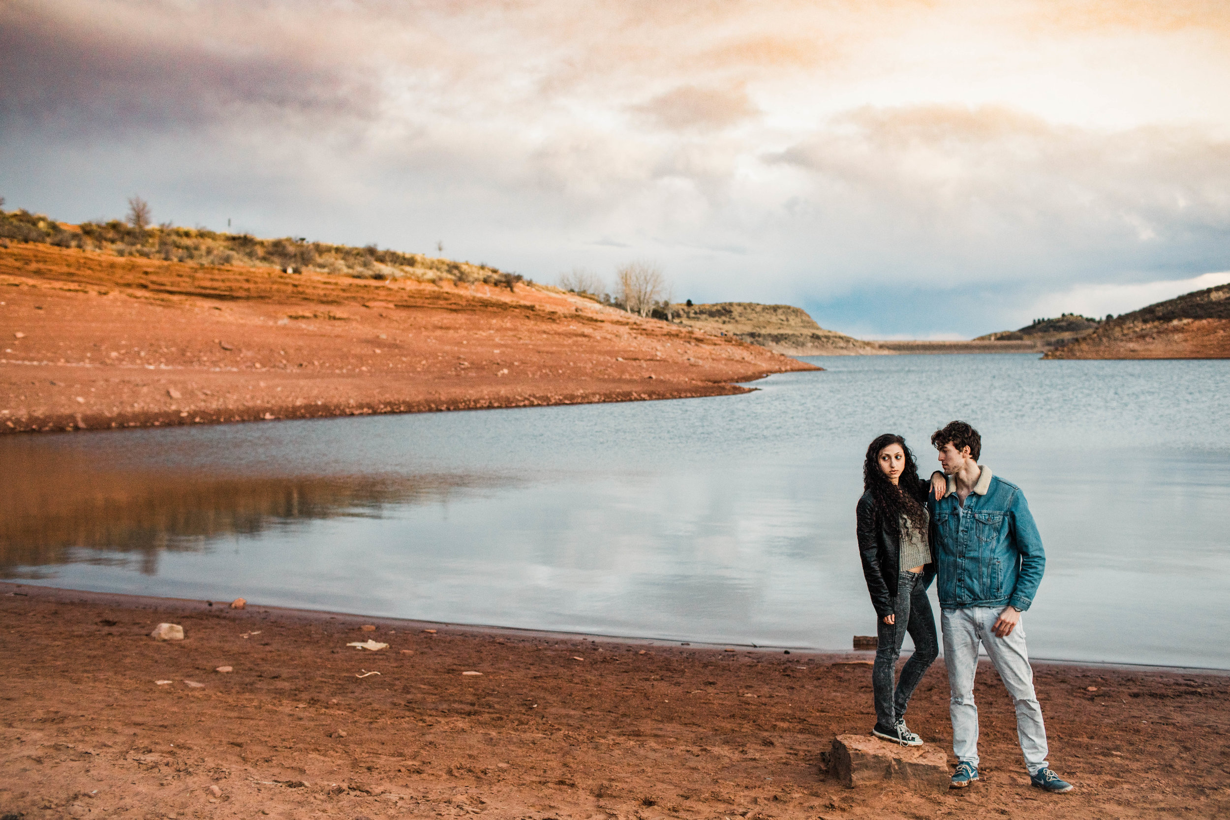 mountain lake engagement photos in northern Colorado | Fort Collins wedding photographers