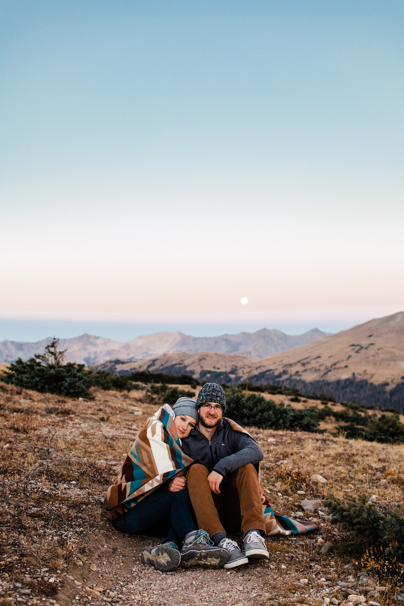 Rocky Mountain National Park Engagement Session | Blue hour couples photos | Rocky Mountain elopement photographers