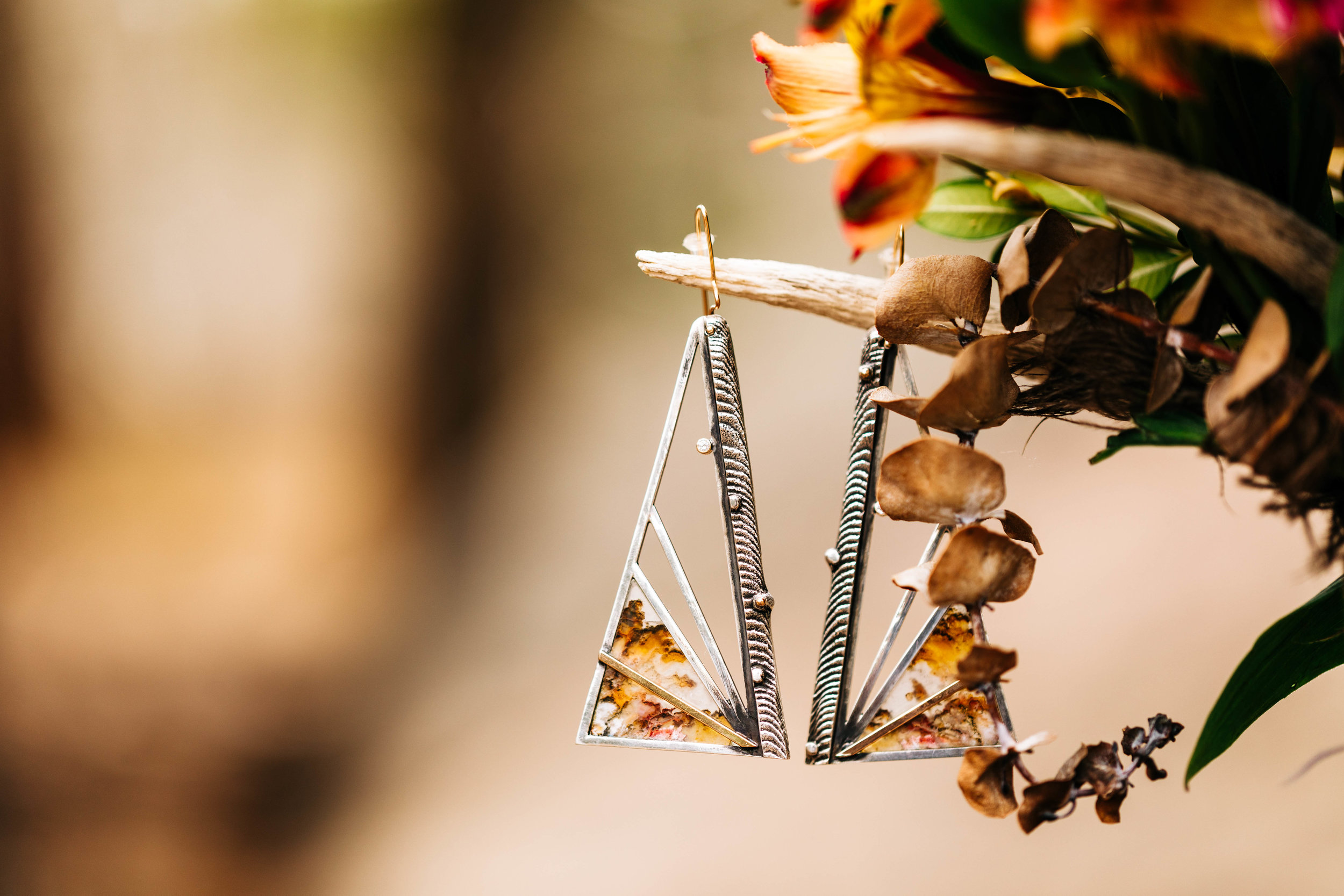Handmade silver dangly earrings for a camper van Colorado elopement in Nederland | adventure elopement photographers