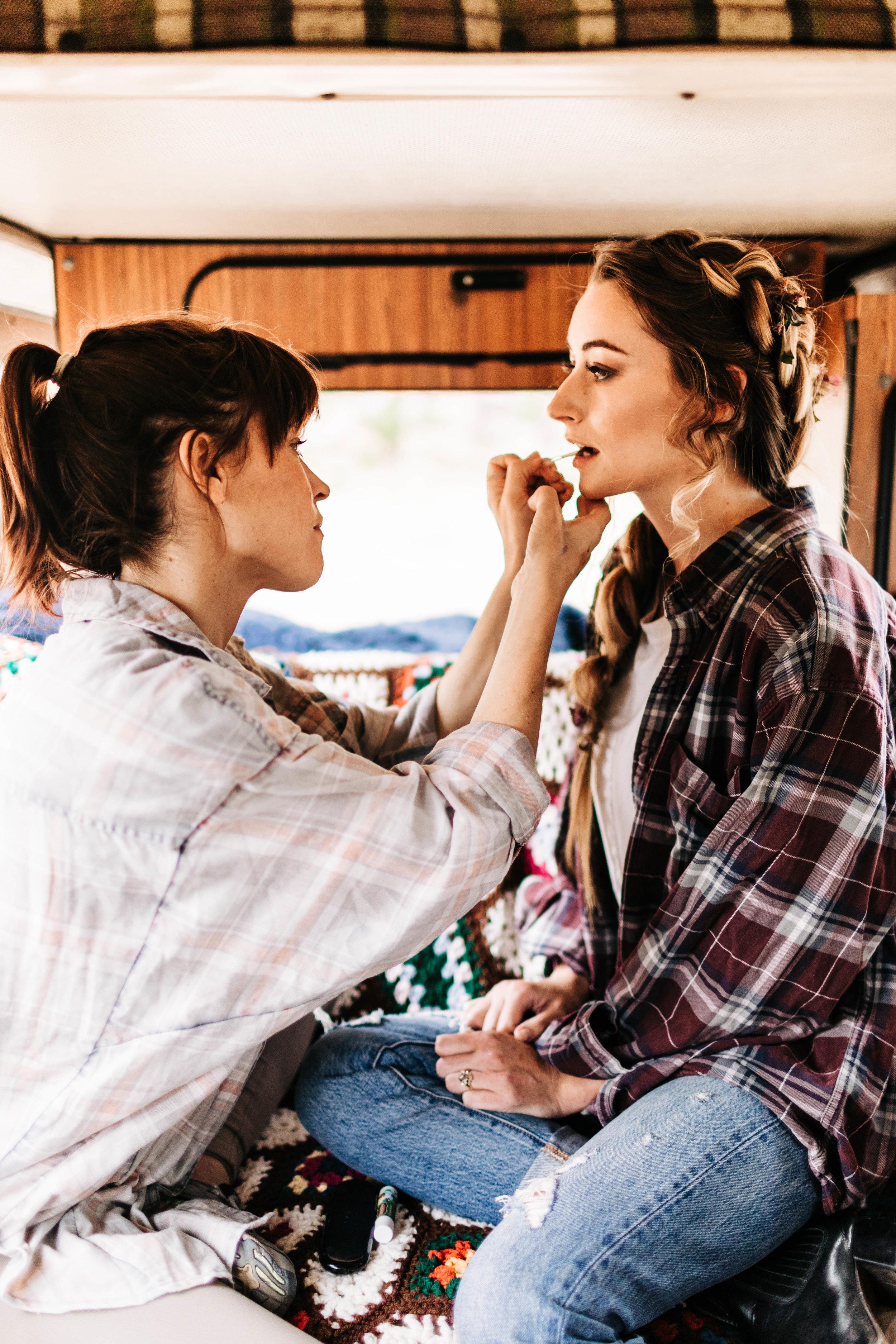 camper van elopement hair and makeup | Rocky Mountain elopement photographers