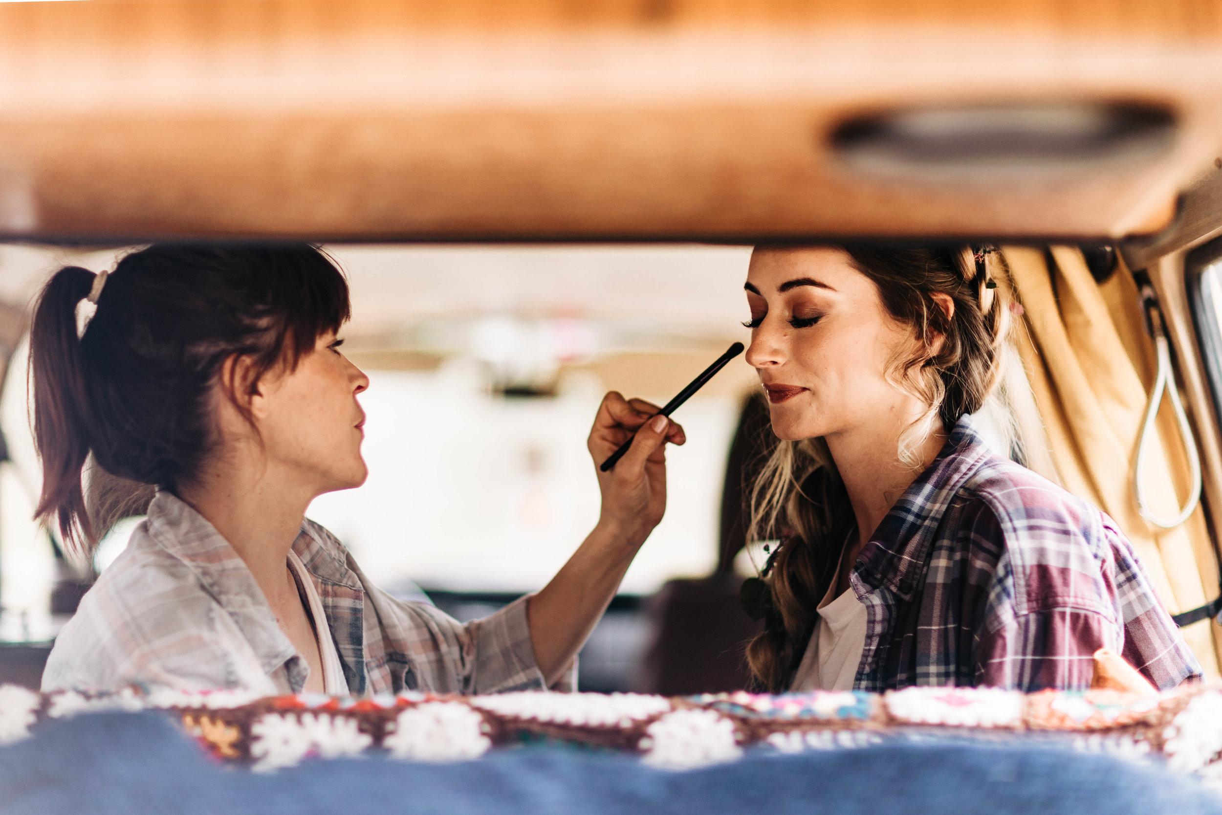 van life adventure elopement hair and makeup | Rocky Mountain elopement photographers