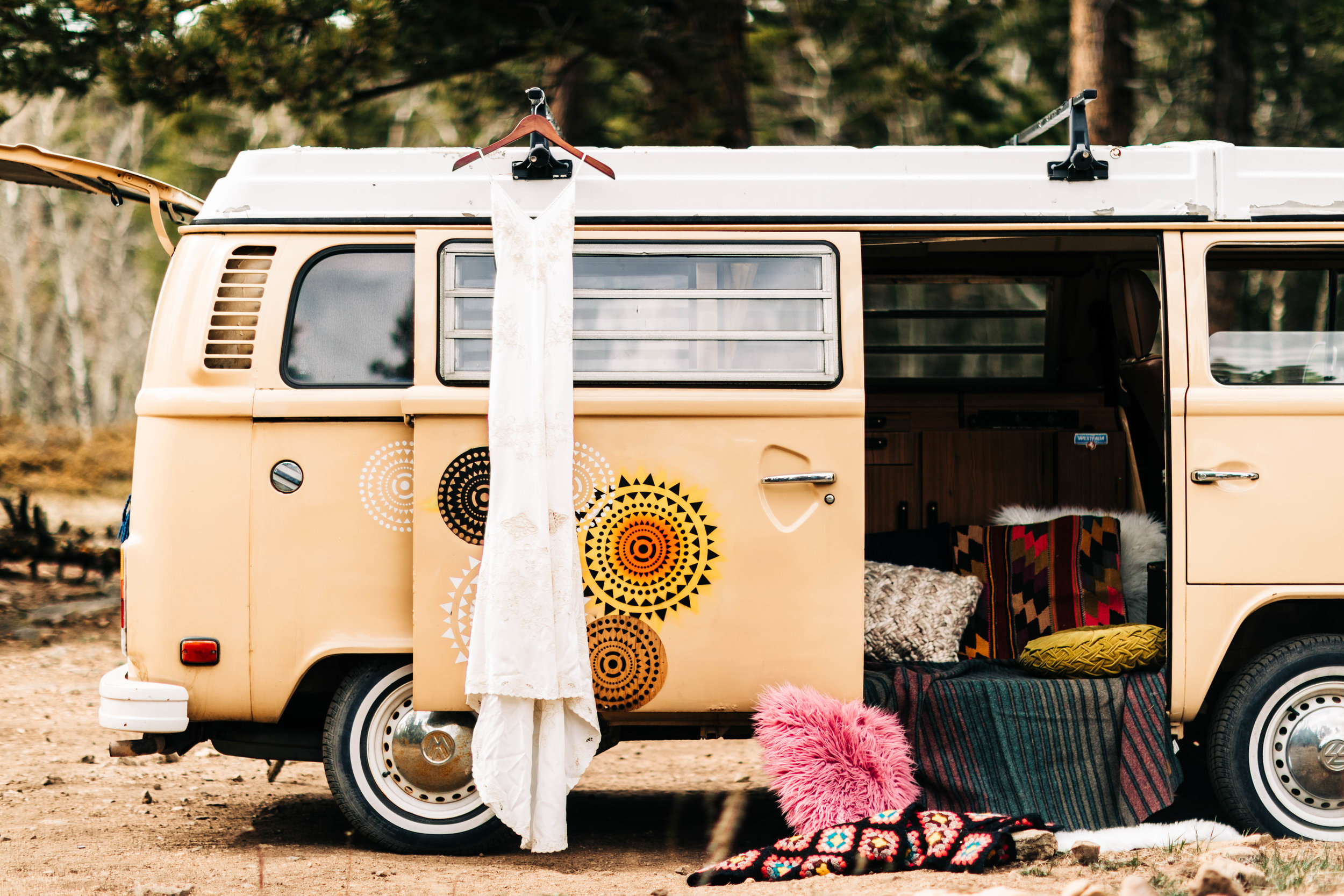 Spell bridal wedding dress for a camper van elopement in Colorado | Rocky Mountain elopement photographers