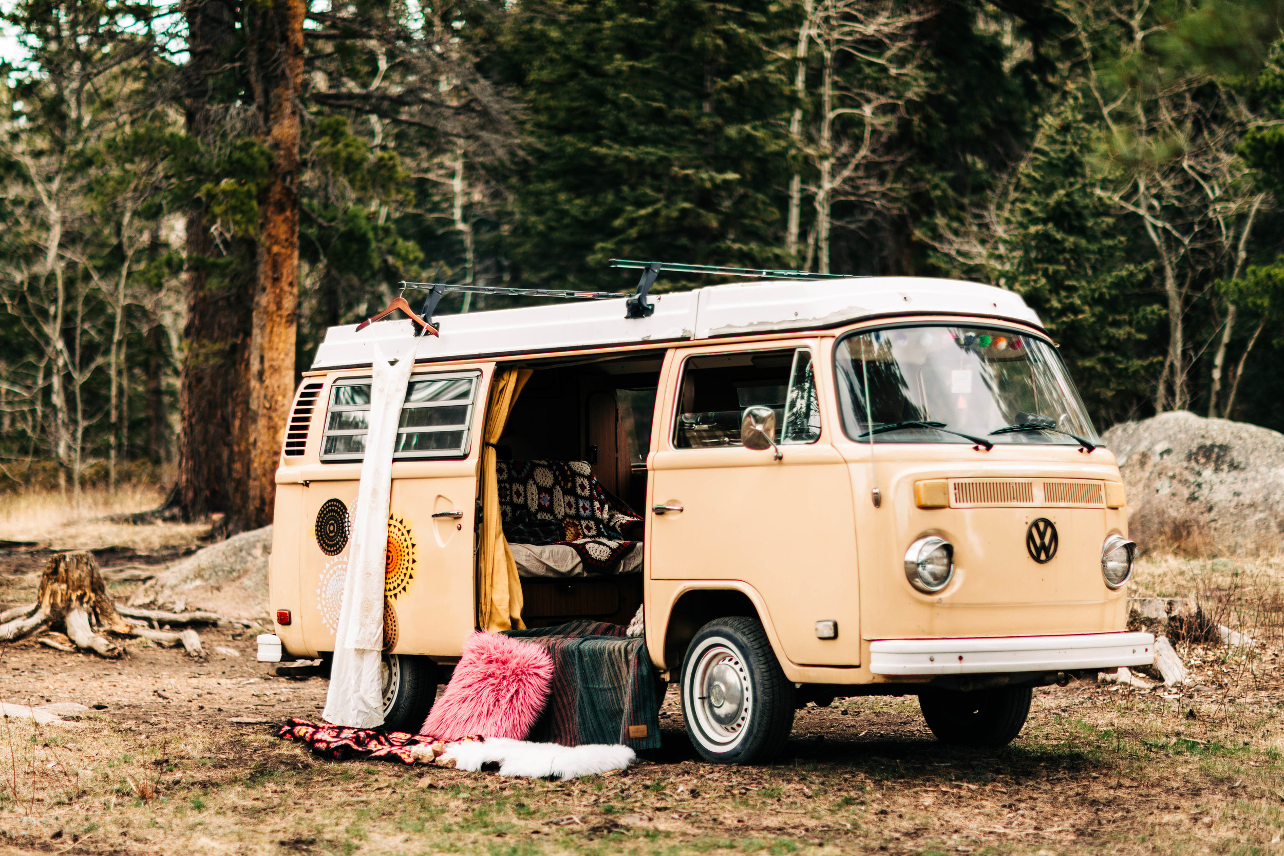 vintage camper van decked out for a Colorado adventure elopement in Nederland | Rocky Mountain wedding photographers