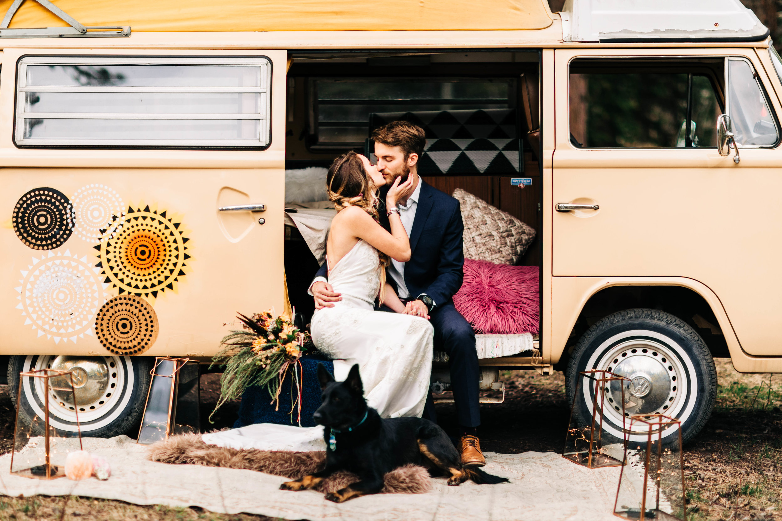 Colorado couple kissing in their camper van before their adventure elopement | Rocky Mountain elopement photographers