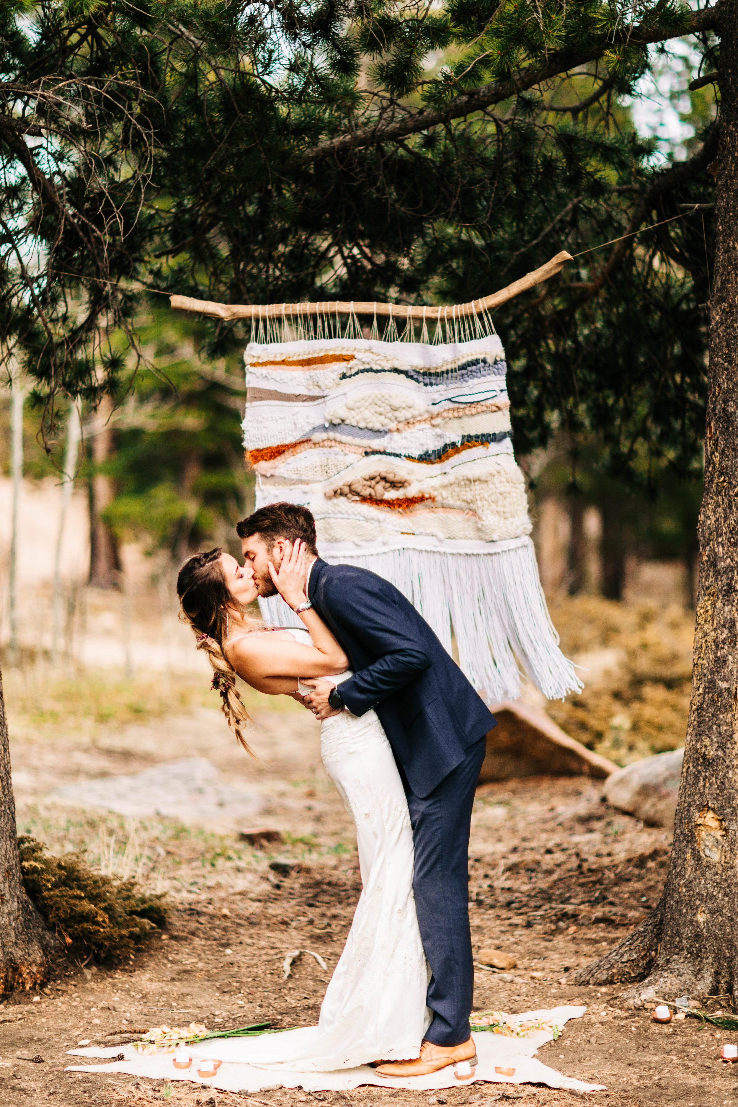 self-solemnizing elopement in Colorado | Rocky Mountain first kiss