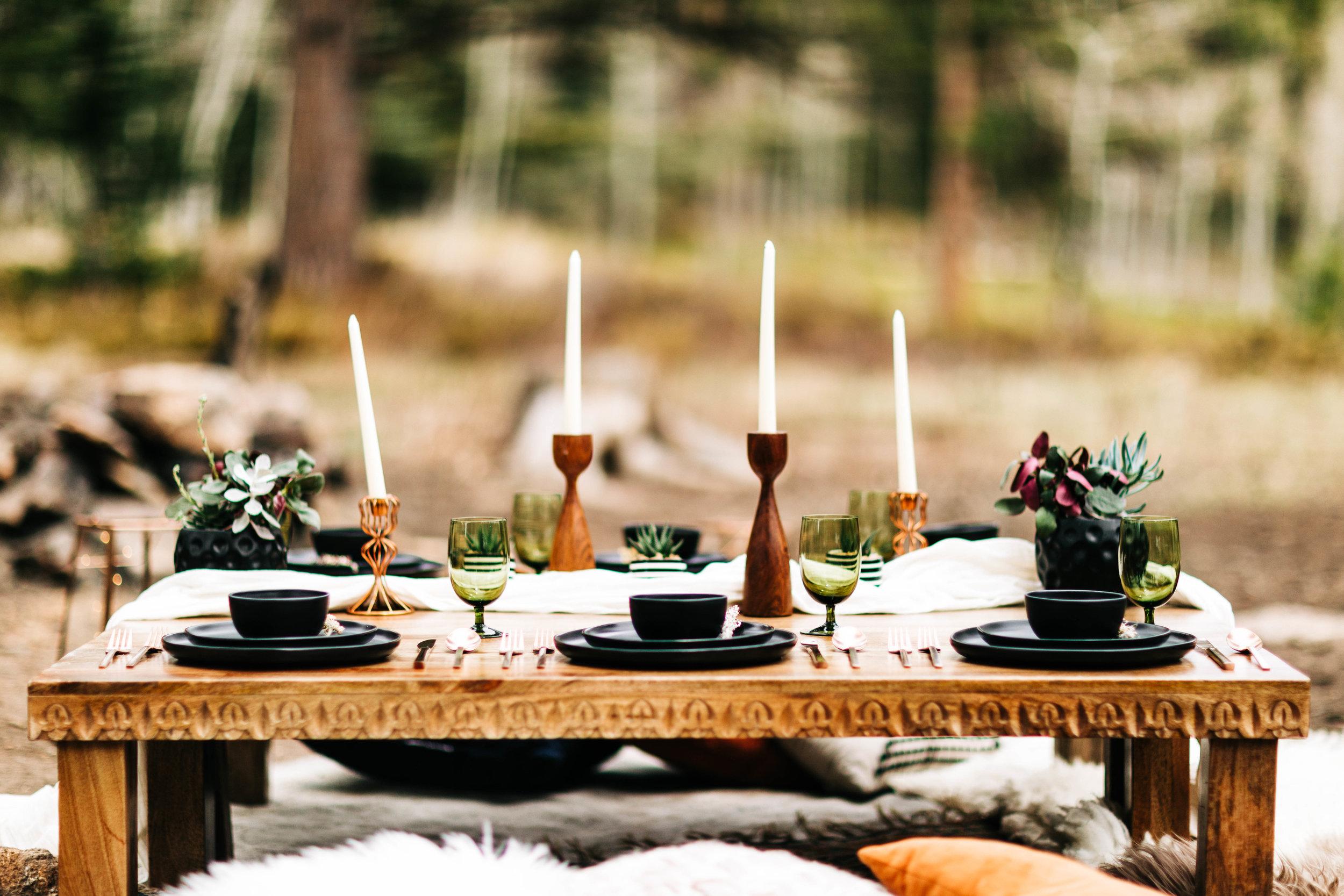 Moroccan inspired elopement dinner | Rocky Mountain elopement ideas