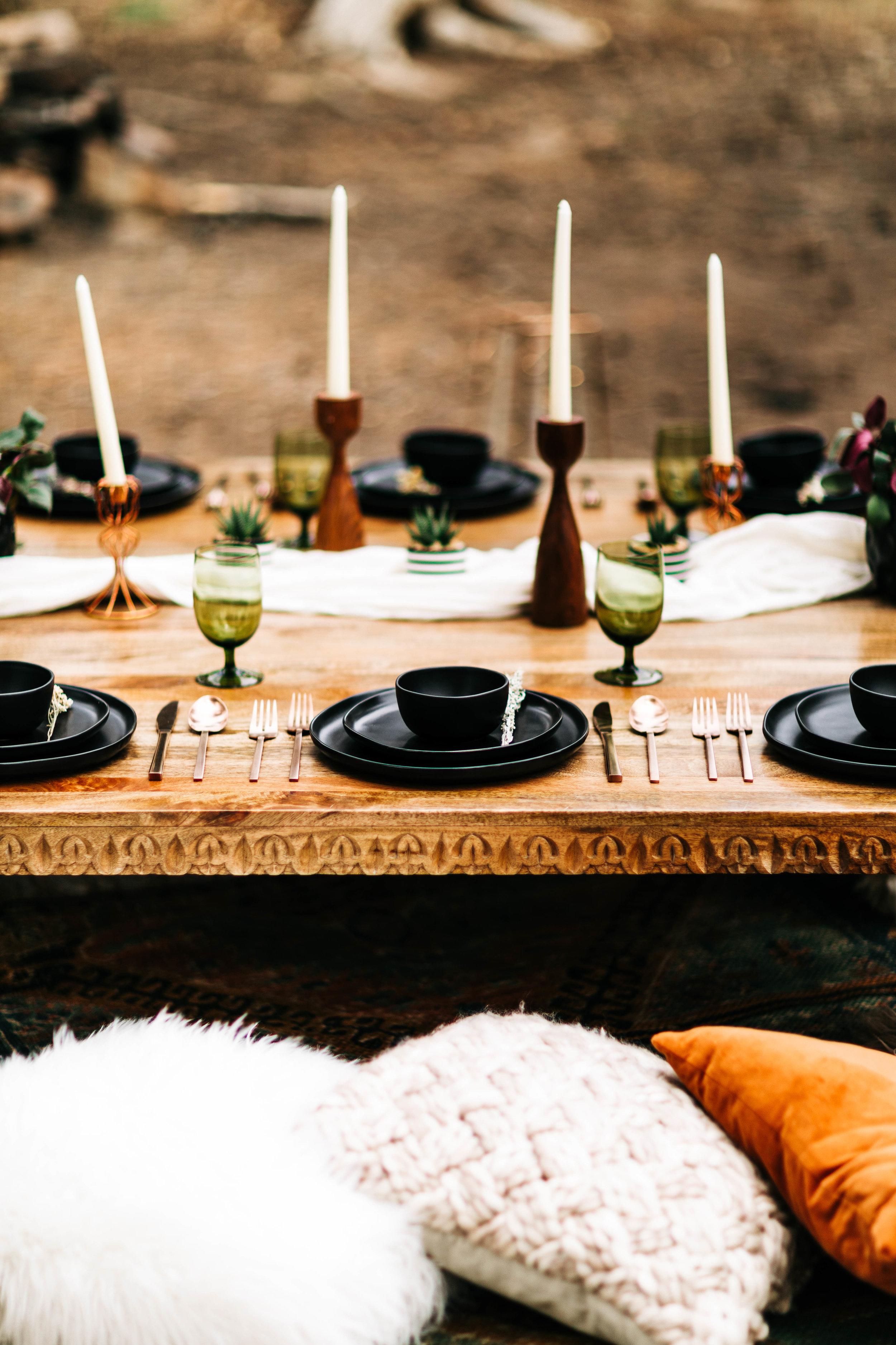 Morocco inspired adventure elopement dinner | Rocky Mountain elopement ideas