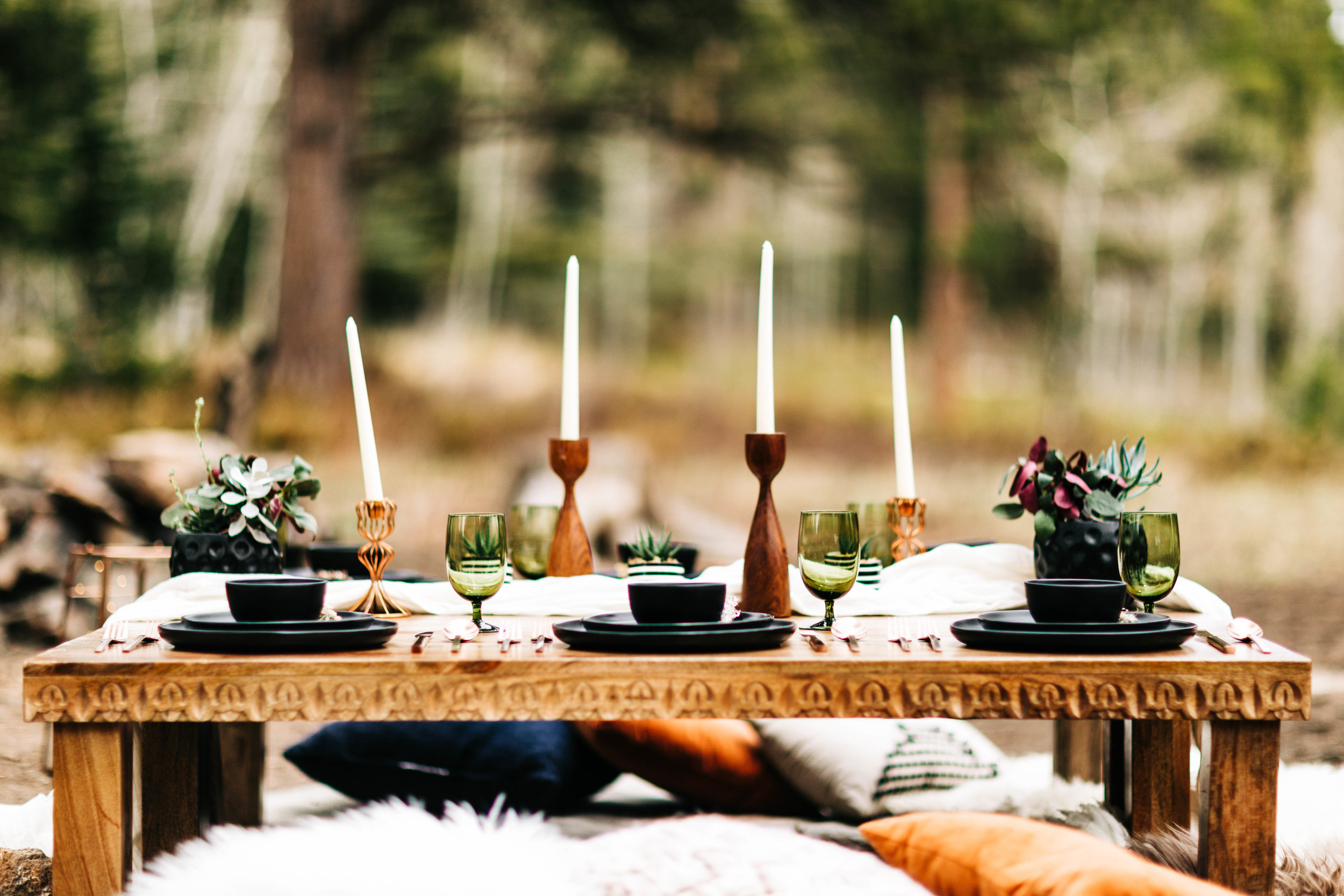 intimate wedding dinner in the Colorado mountains | Rocky Mountain elopements