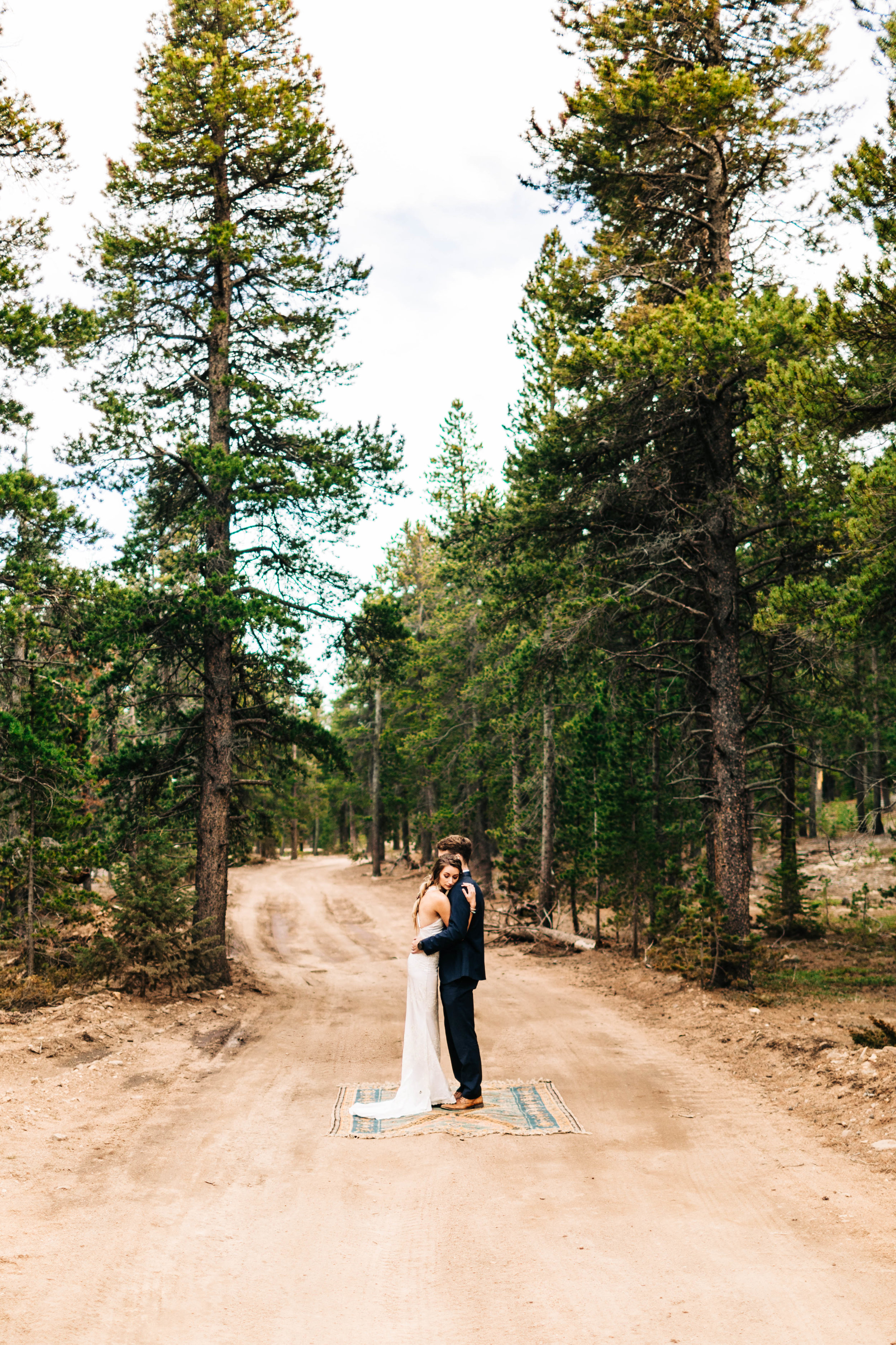mountain elopement photos in a forest in the Rocky Mountains of Colorado