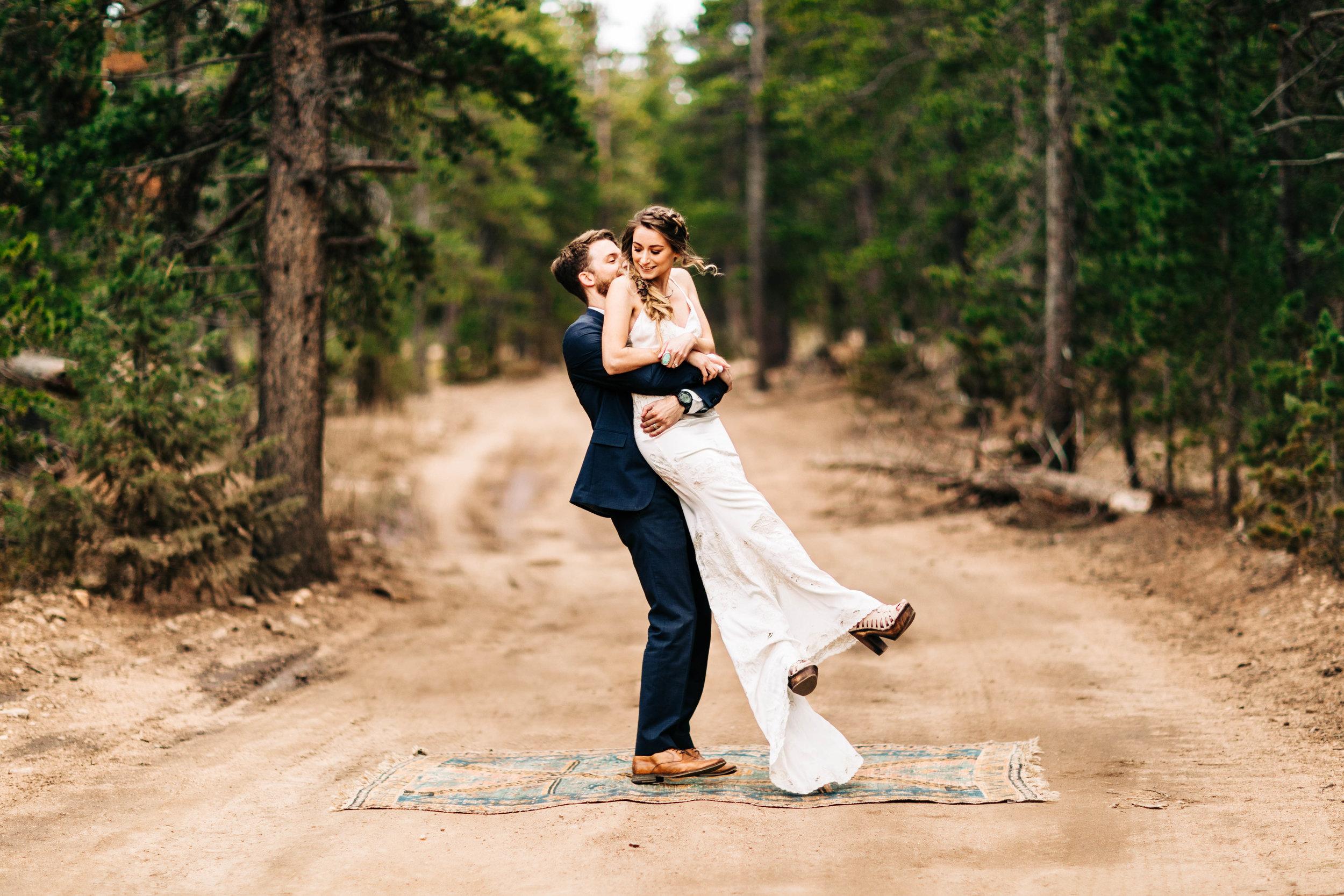 couple adventuring through the Rocky Mountains | Colorado adventure elopement photographers