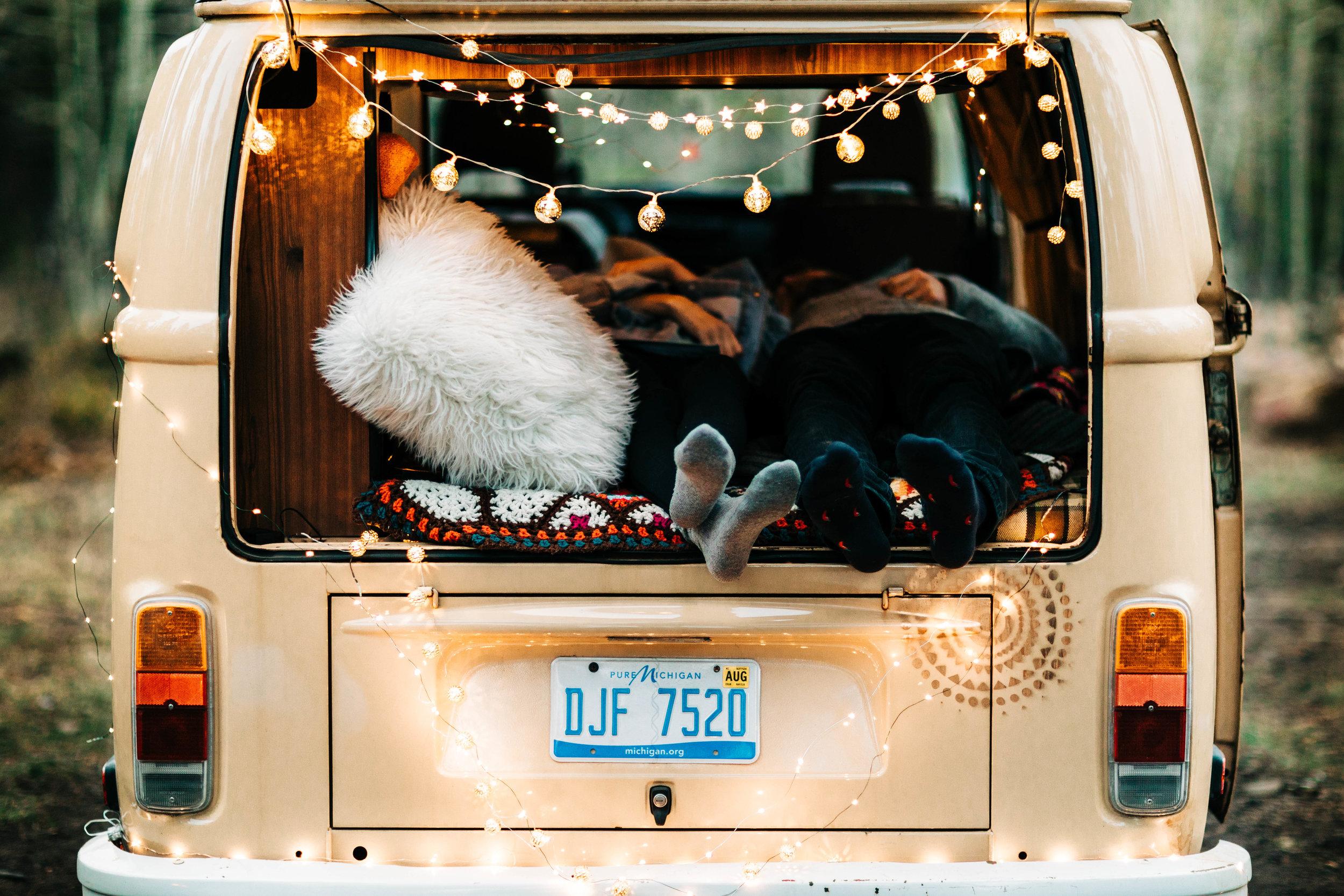 elopement photos inside a vintage camper van | van life traveling elopement photographers