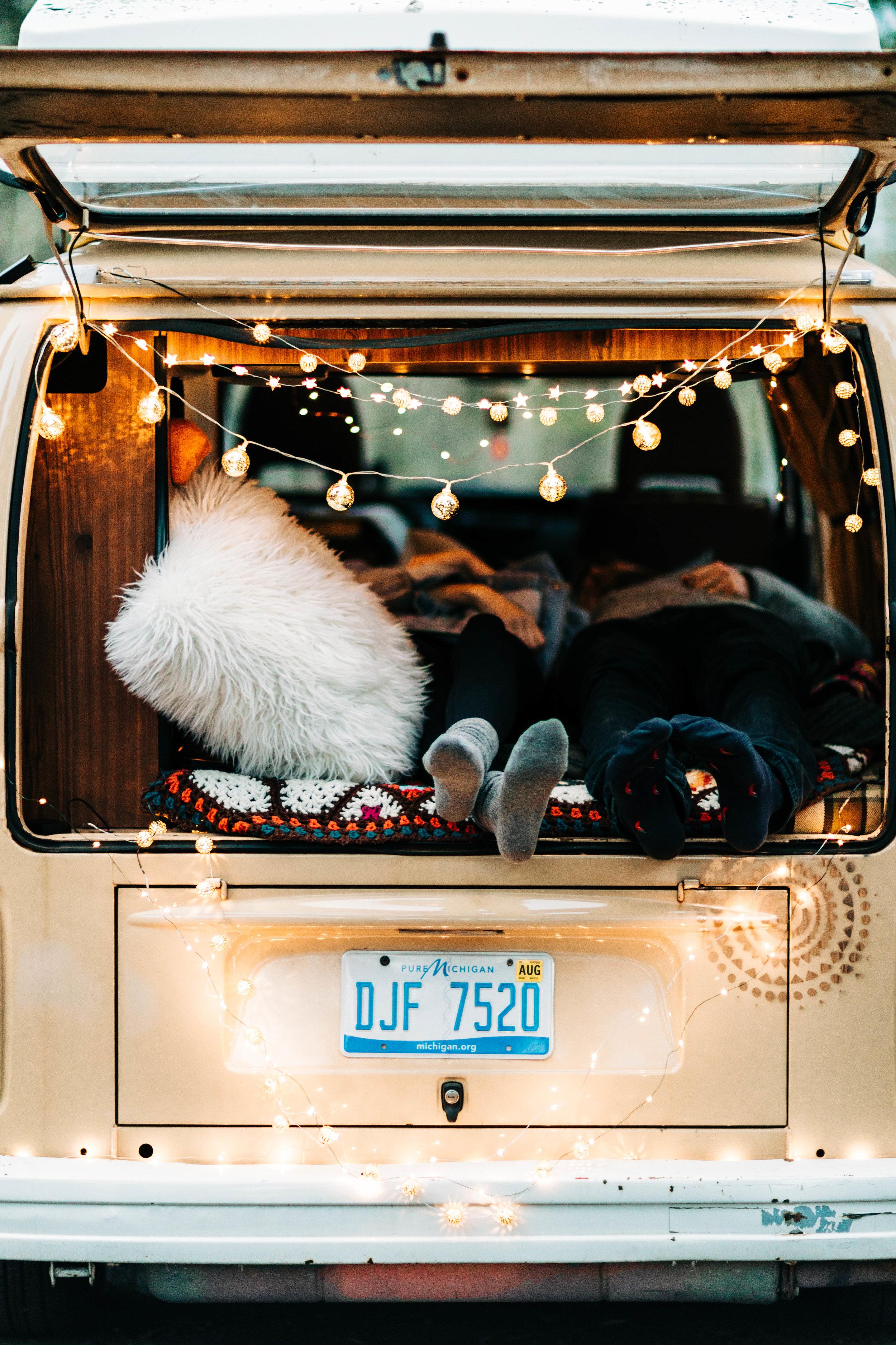 elopement photos inside a vintage camper van | traveling elopement photographers