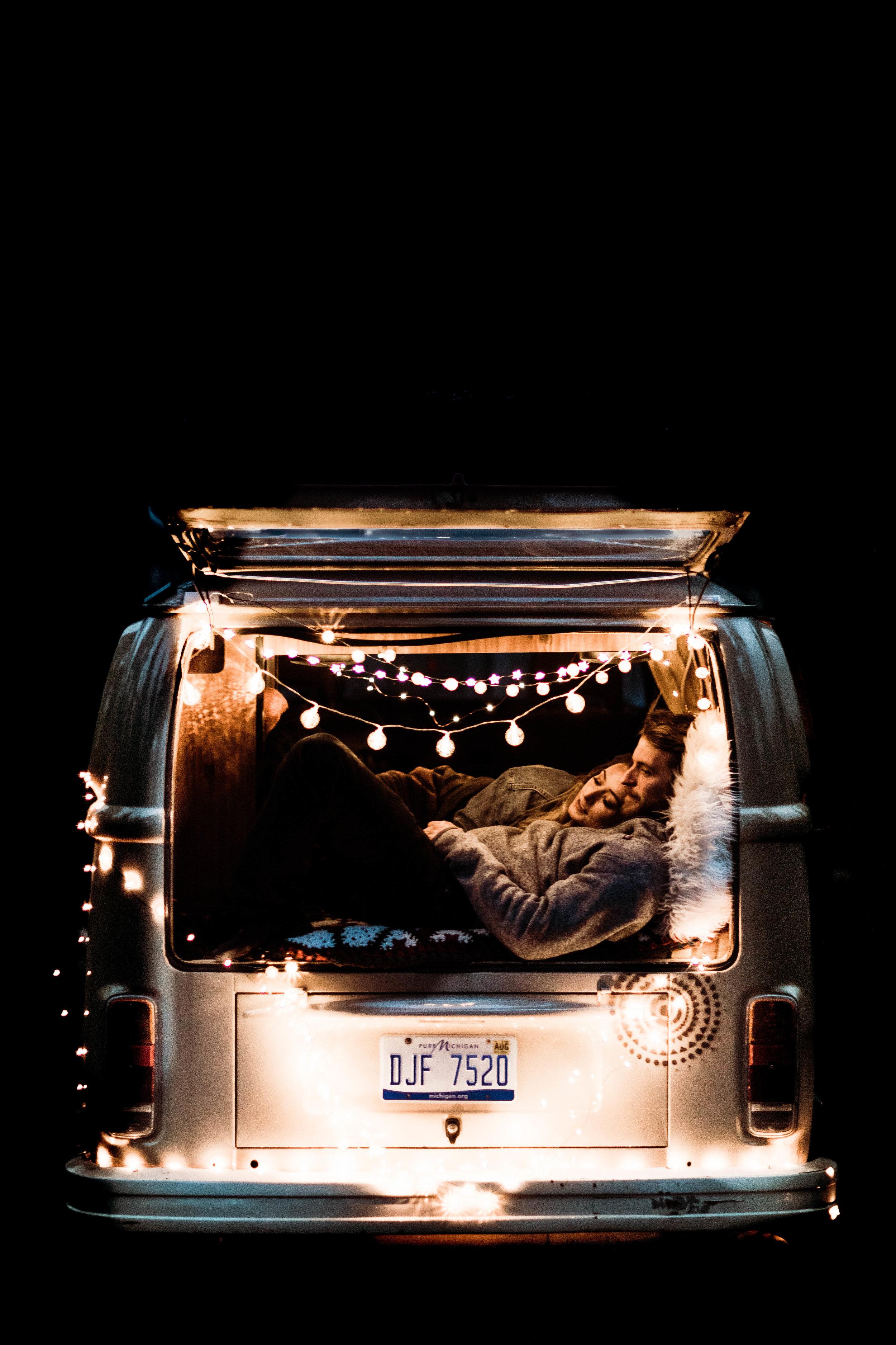 post elopement couples photos inside a vintage camper van | adventure elopement photographers