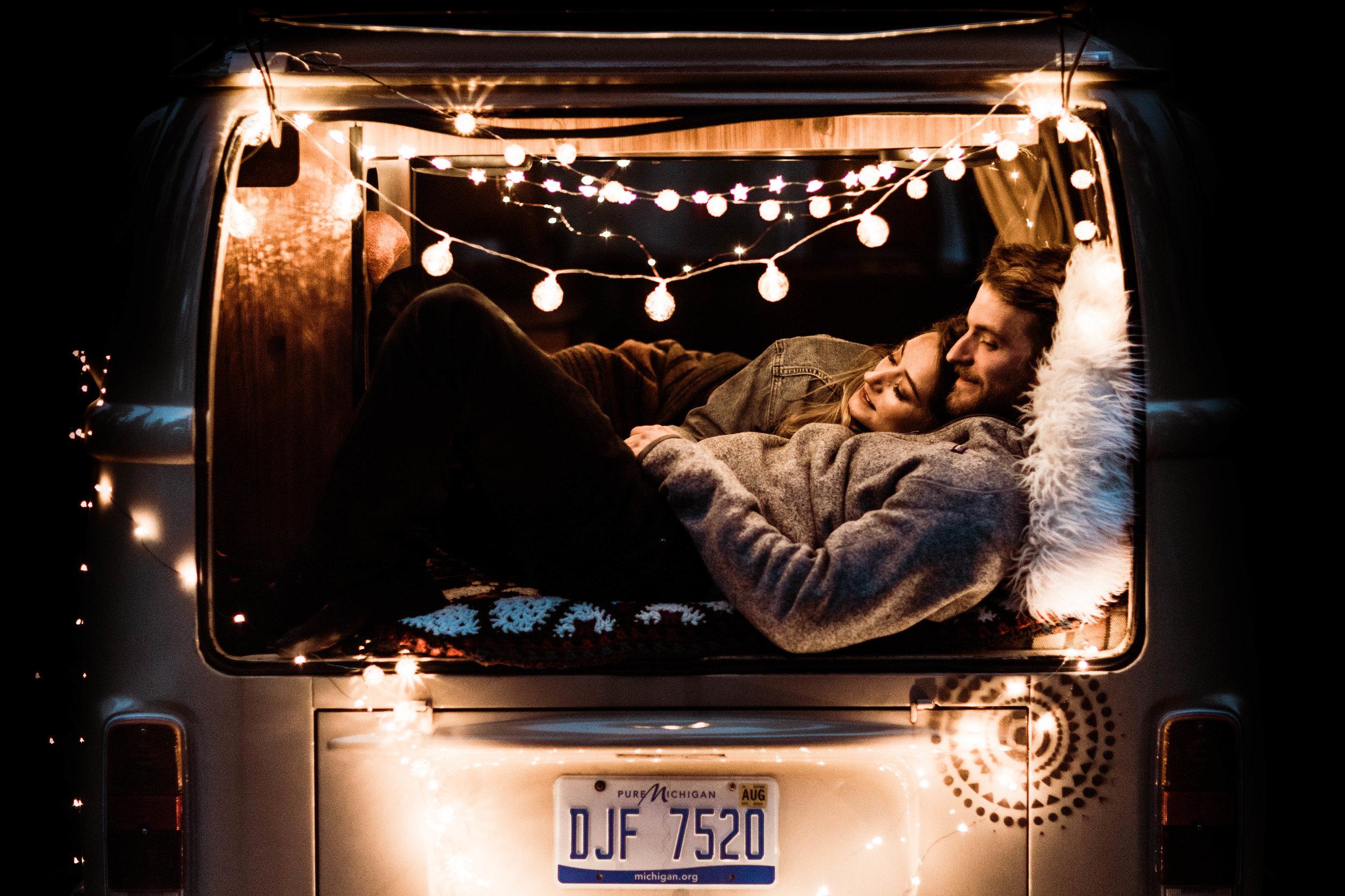post elopement couples photos inside a vintage camper van | Rocky Mountain adventure elopement photographers