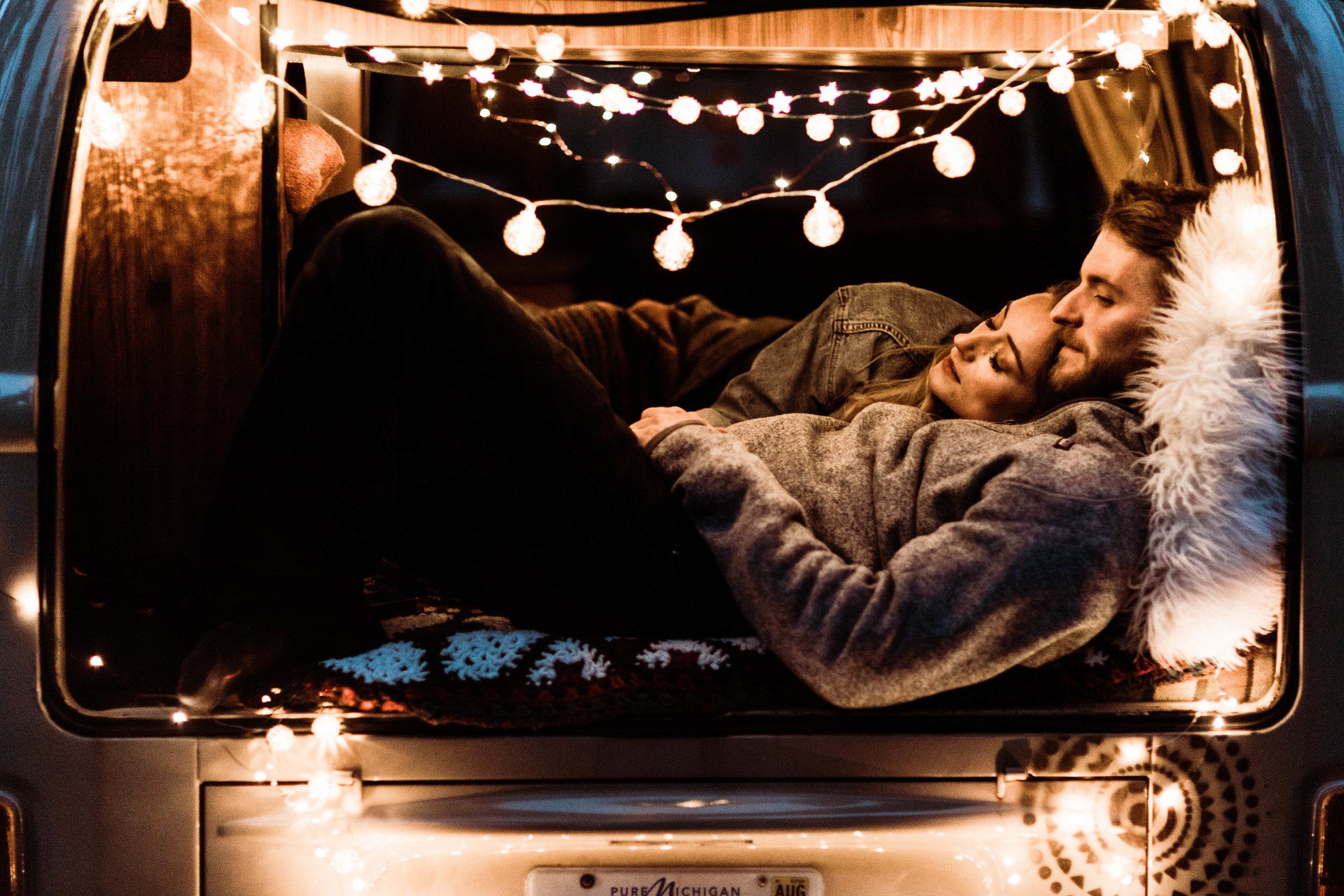 post elopement couples photos inside a vintage camper van | Rocky Mountain Colorado elopement photographers