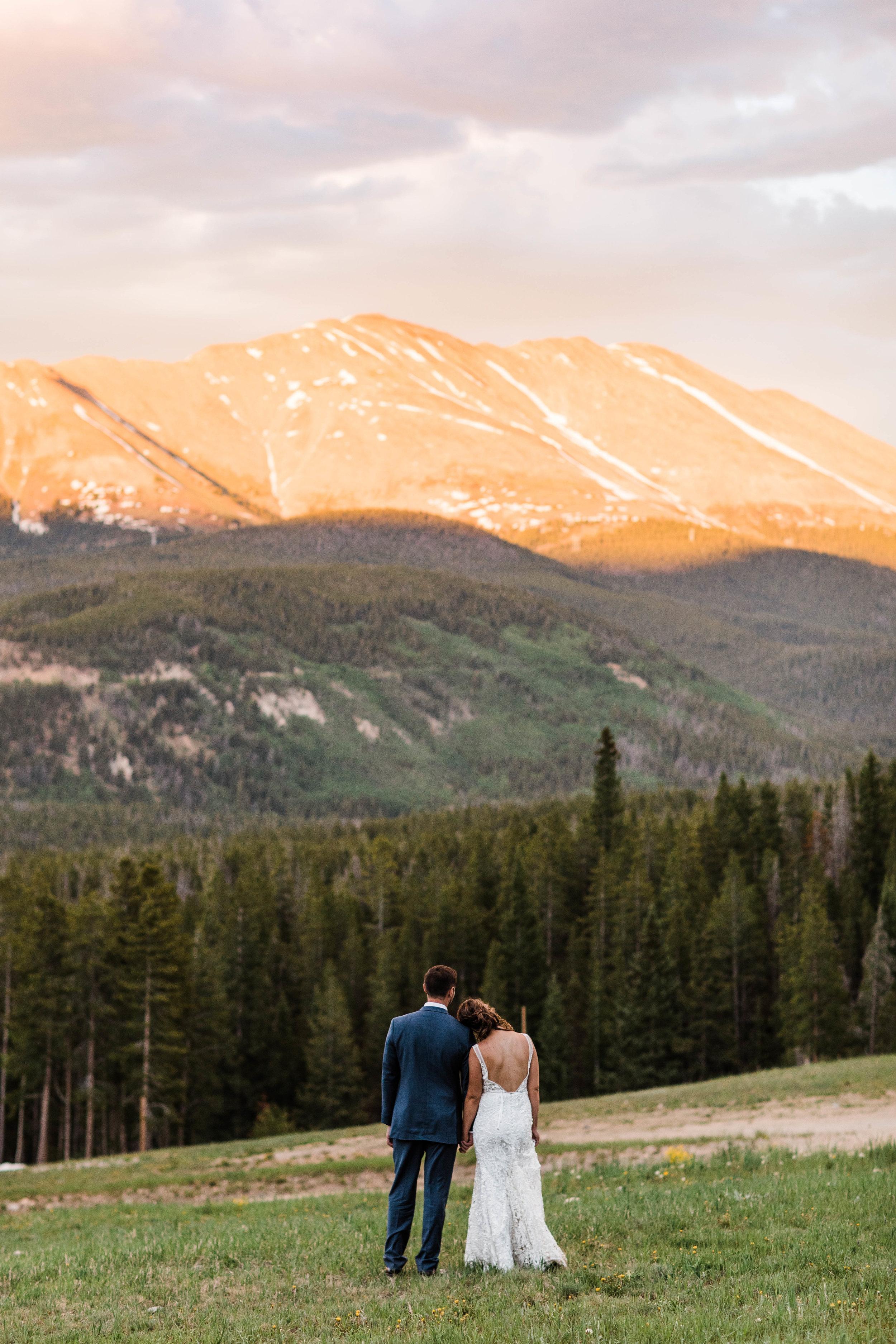 Adventure elopement in Breckenridge, Colorado at sunset