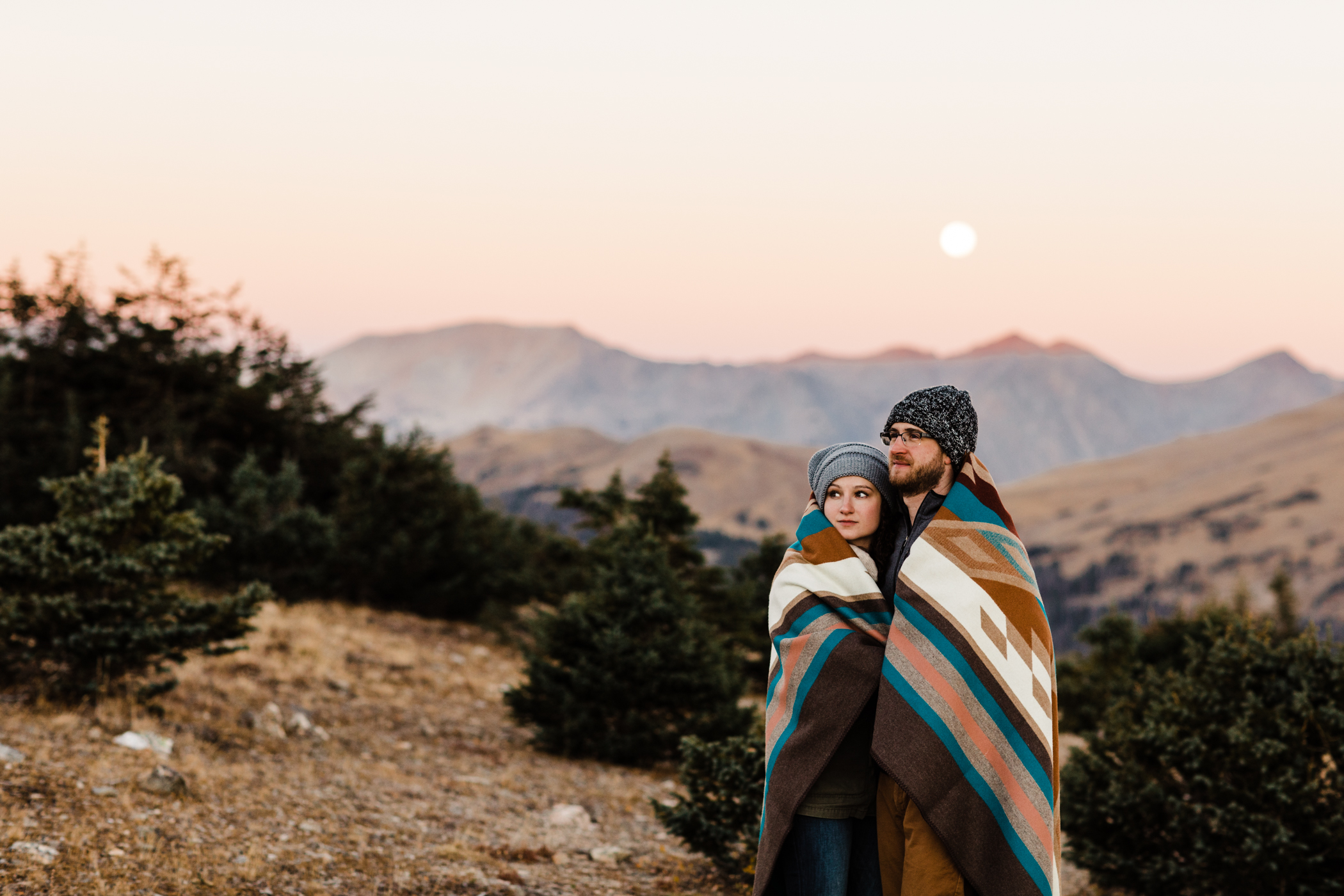 Sunrise engagement session on Trail Ridge Road in Rocky Mountain National Park
