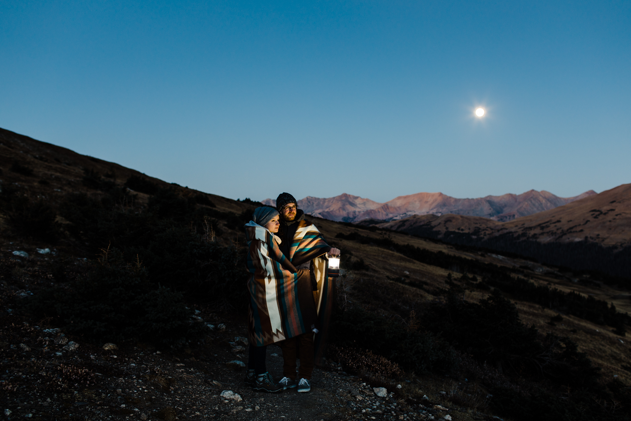 Sunrise hiking engagement session in Colorado | Rocky Mountain National Park elopement photographers