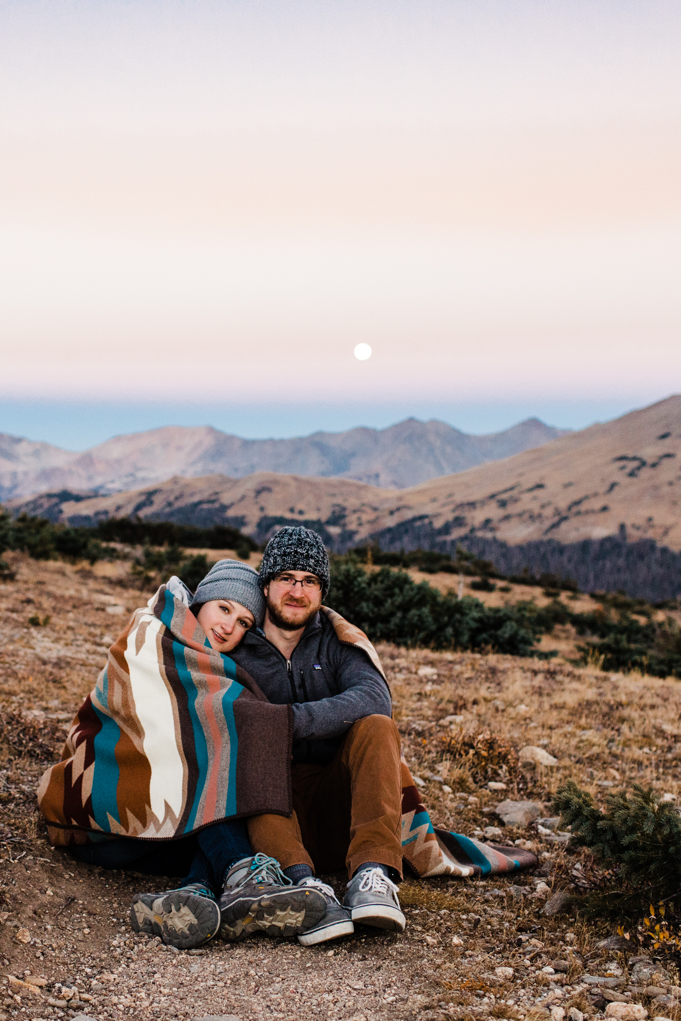 Full moon sunrise hiking engagement session in the alpine tundra | elopement photographers in Colorado