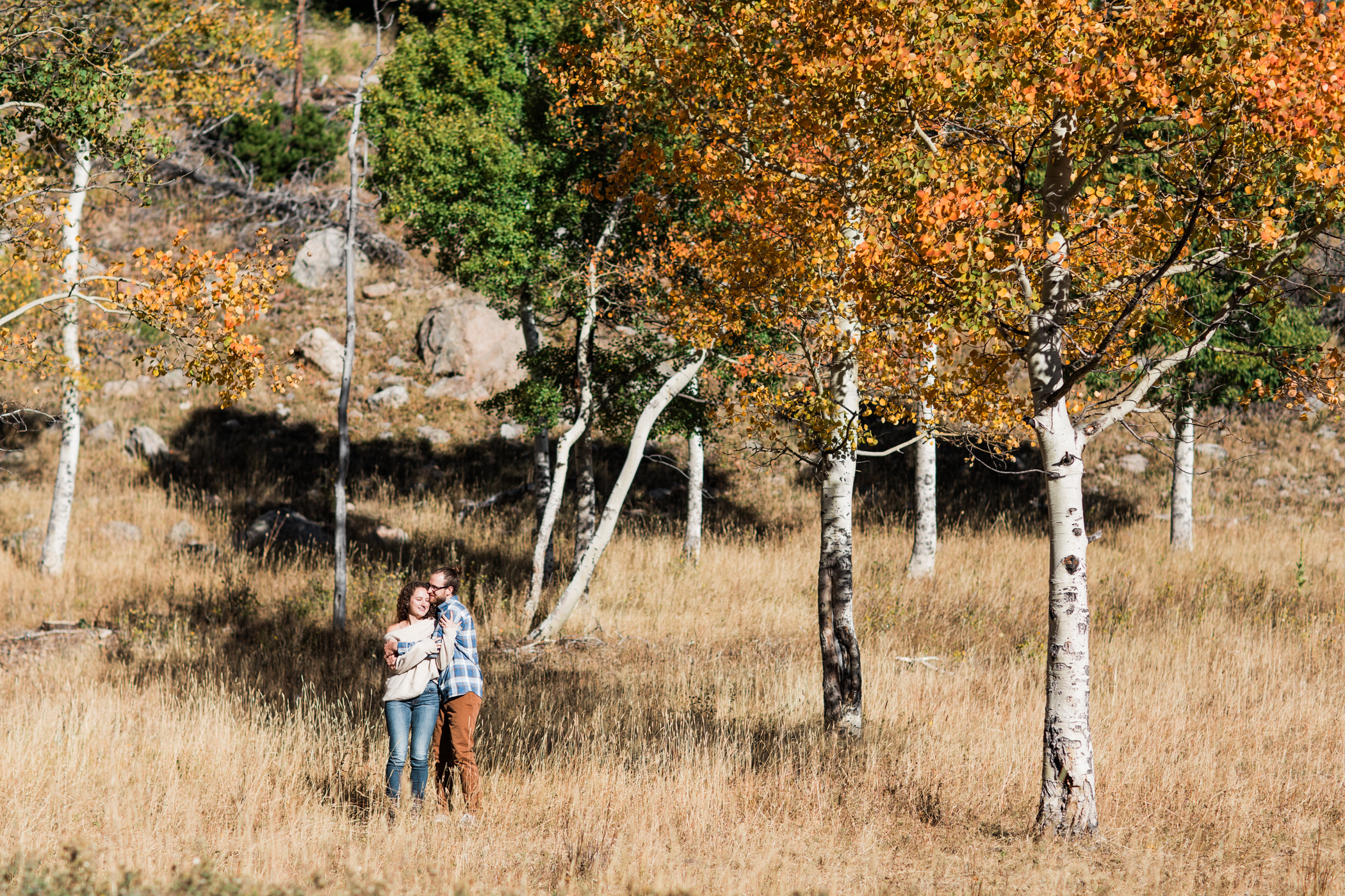 engagement photos in a meadow in the fall in Colorado | Rocky Mountain National Park elopement photographers