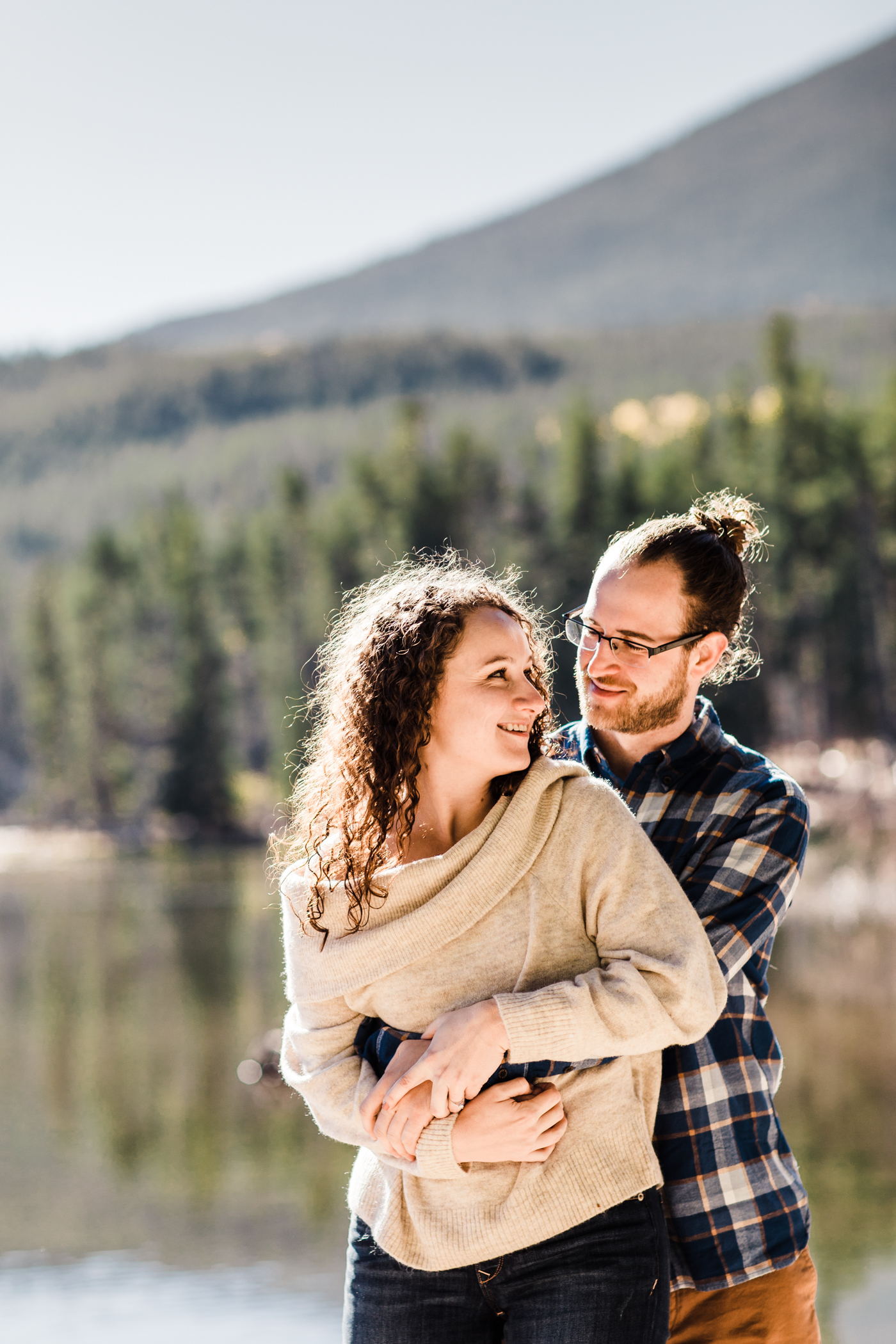 engagement photos at Sprague Lake in Rocky Mountain National Park | best elopement photographers in Colorado