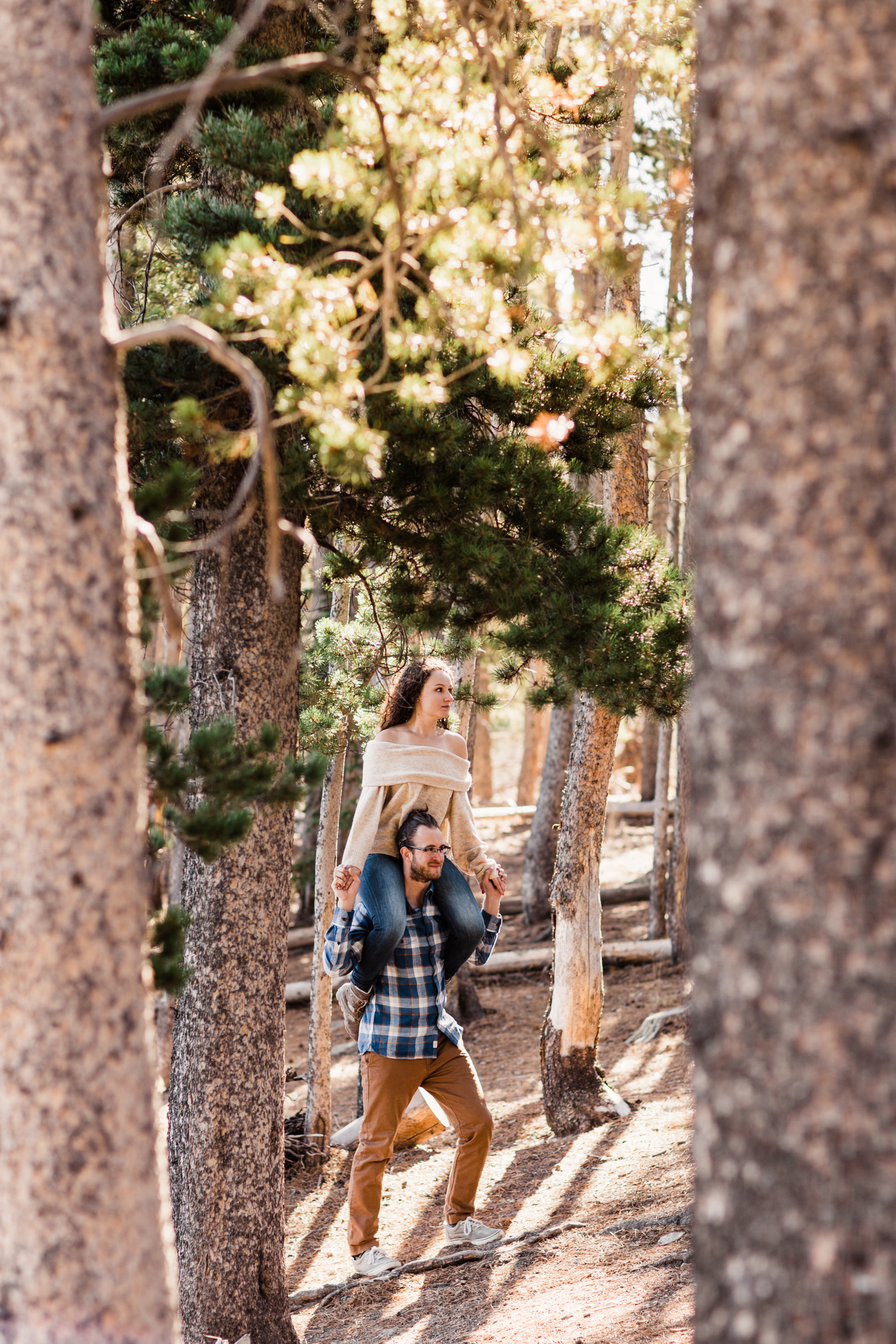 playful engagement session near Sprague Lake | Rocky Mountain National Park elopement photographers
