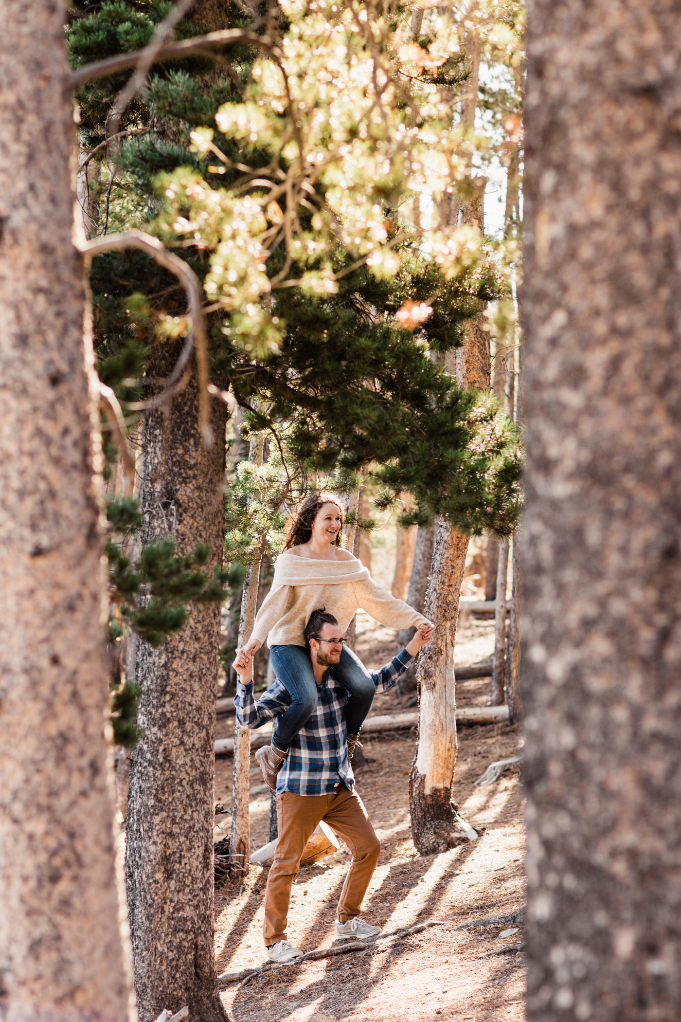 playful engagement session near Sprague Lake | Rocky Mountain adventure elopement photographers