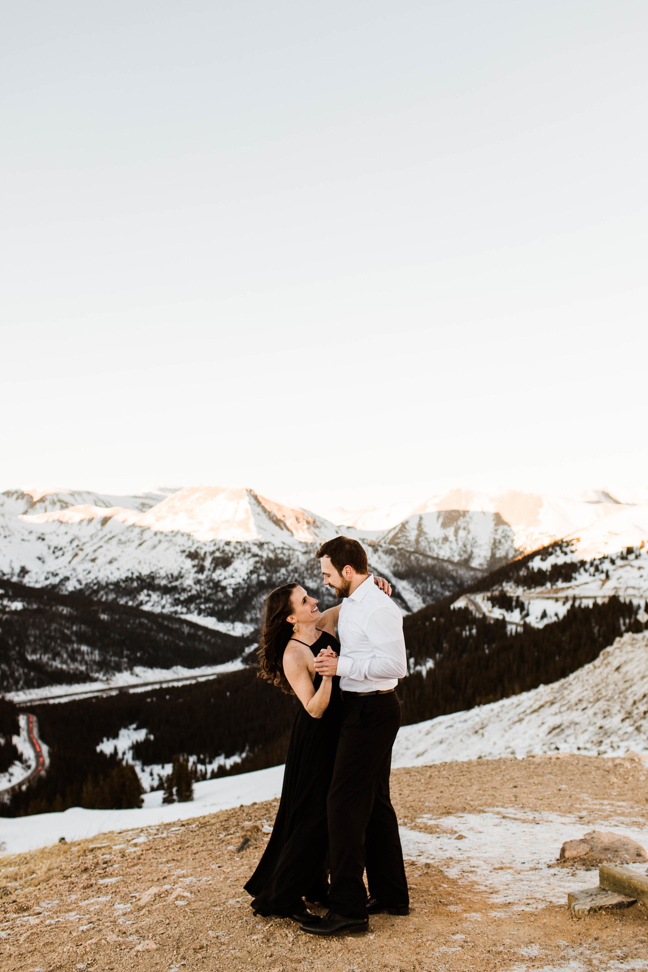 Snowy Loveland Pass elopement near Breckenridge Colorado