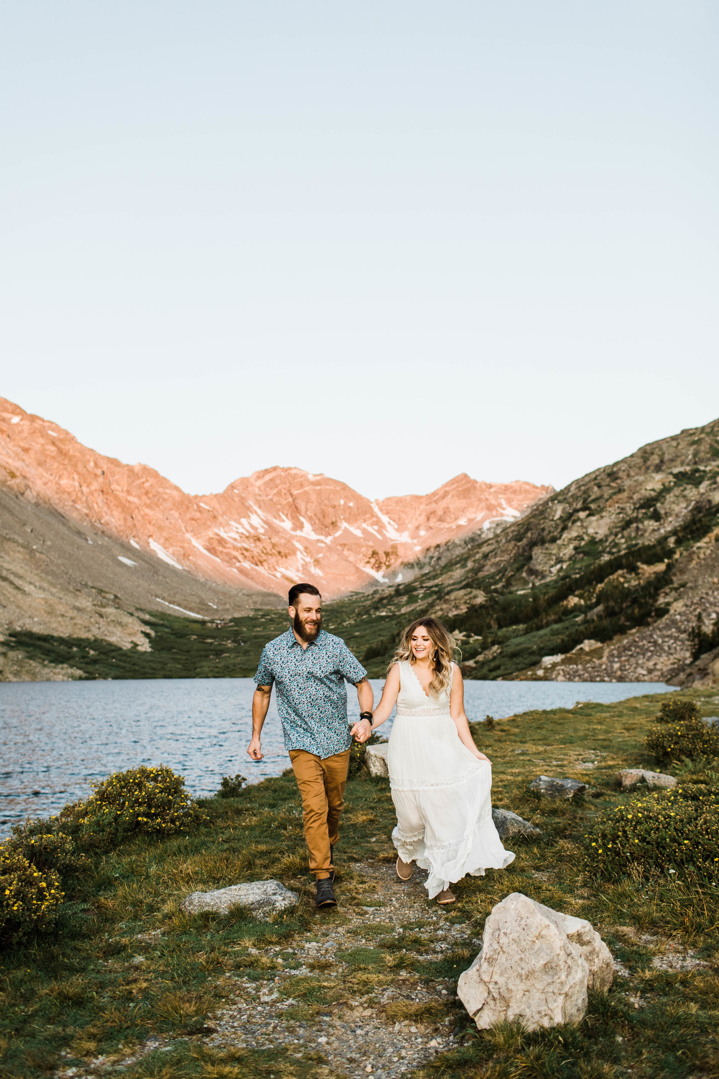 Alpine lake elopement at sunrise in Breckenridge Colorado