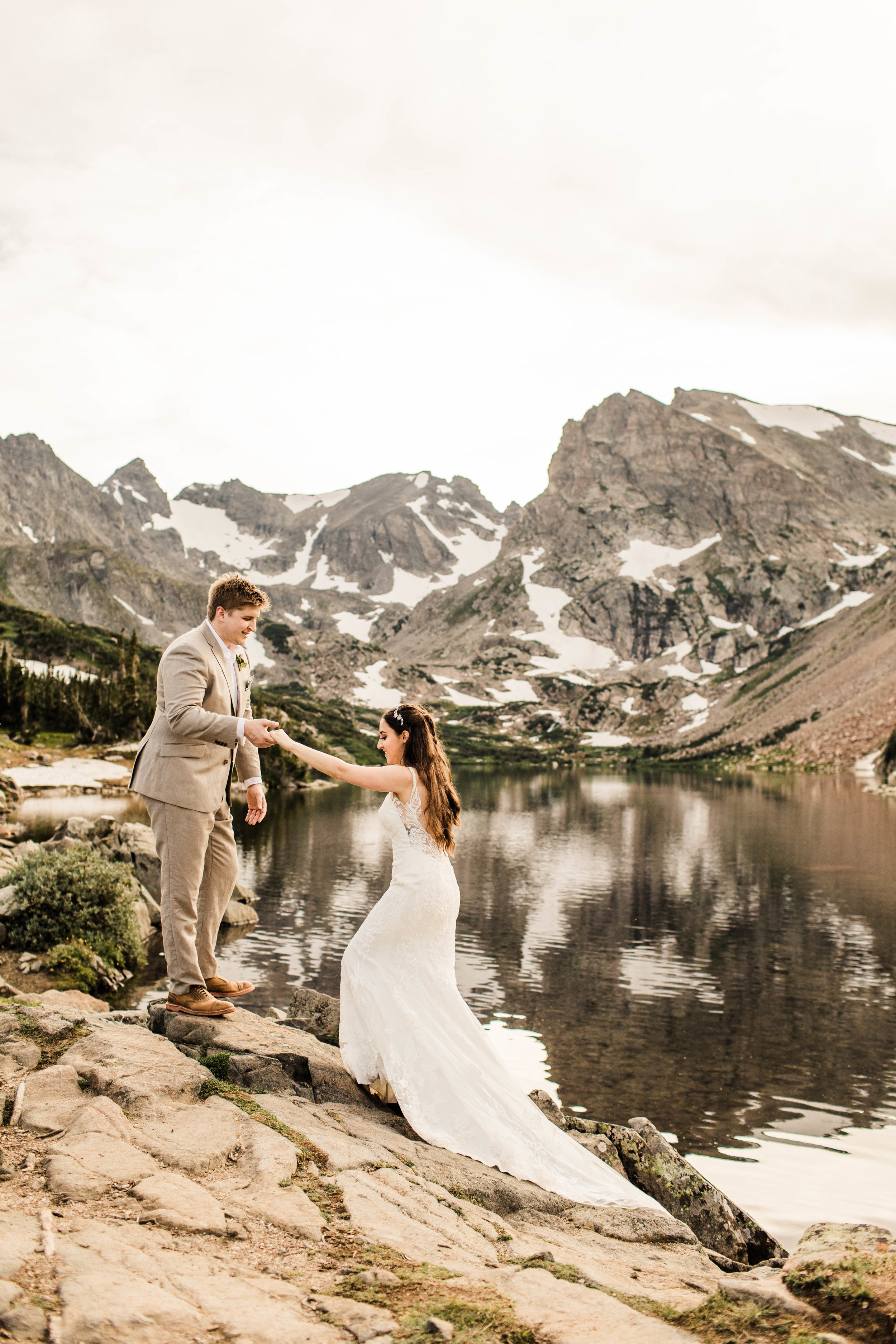 Lakeside adventure elopement in the Colorado Rocky Mountains near Nederland