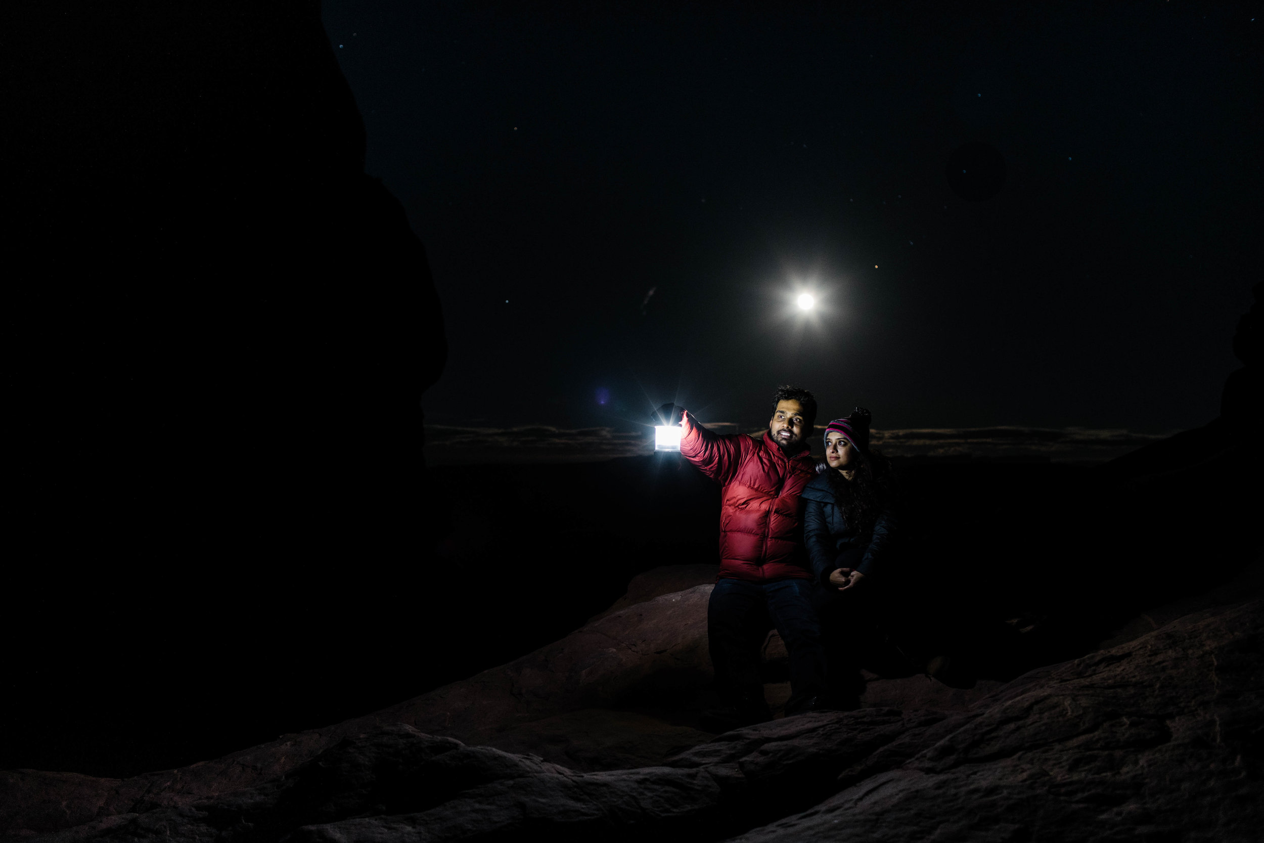 Night hiking adventure elopement wedding in the mountains of Colorado