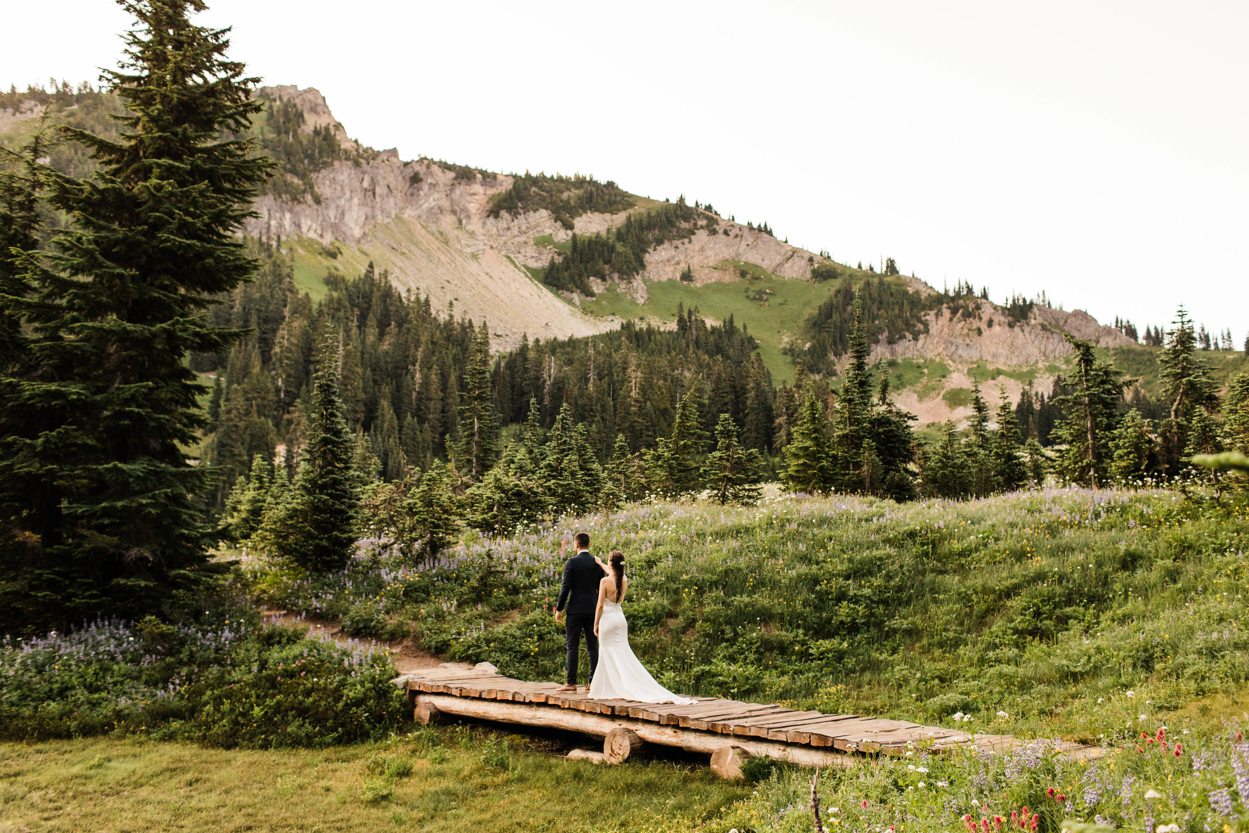 bride and groom's elopement first look in Mount Rainier National Park | Washington state elopement photographers