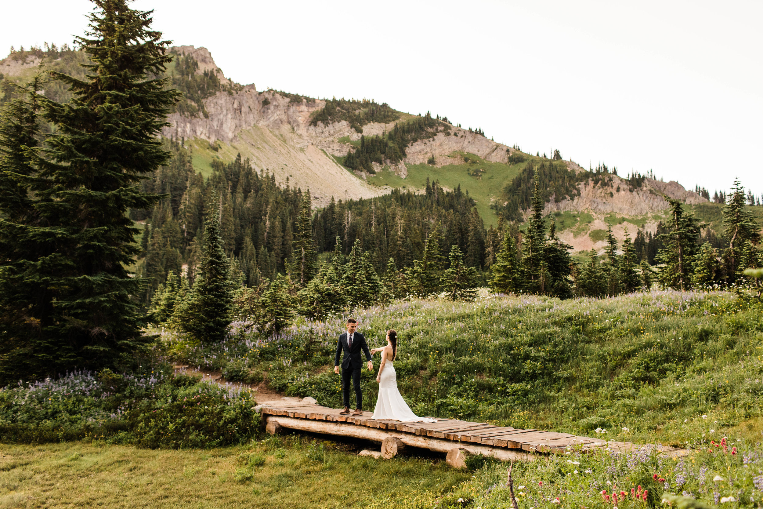 bride and groom's elopement first look in Mount Rainier National Park | Washington elopement photographers
