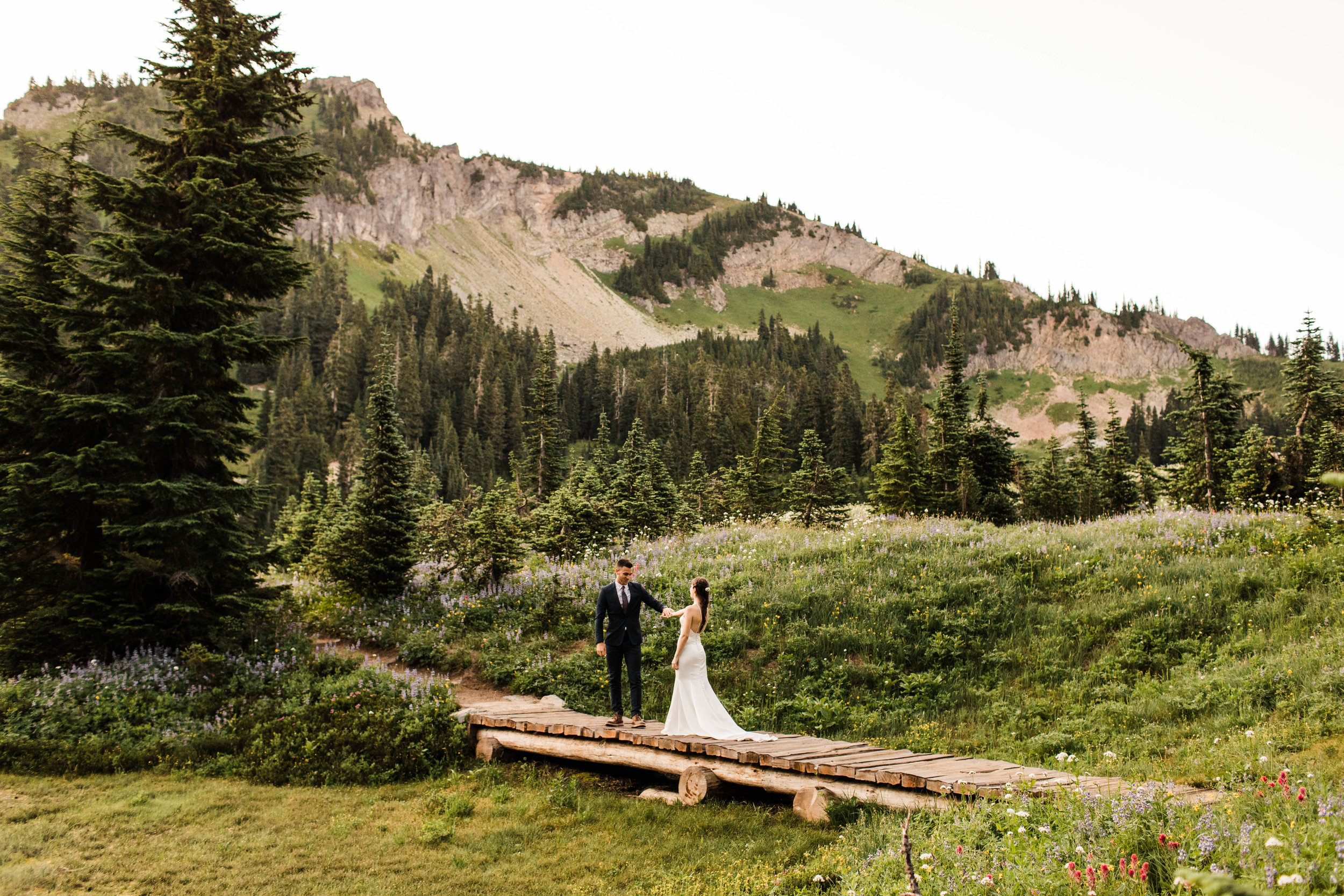 bride and groom's elopement first look in Mount Rainier National Park | Seattle Washington elopement photographers