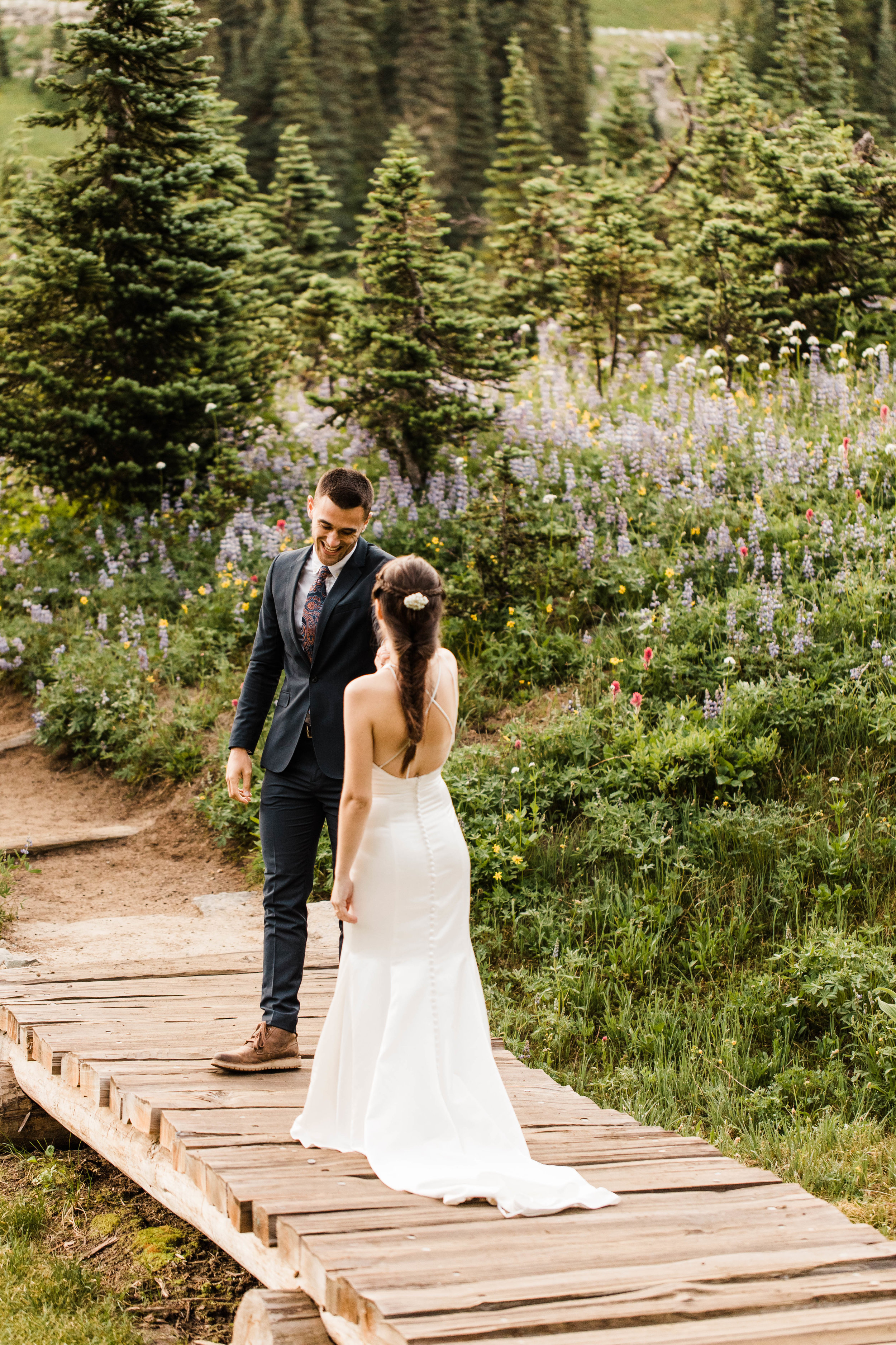 bride and groom's elopement first look in Mount Rainier | Washington state national park elopement photographers