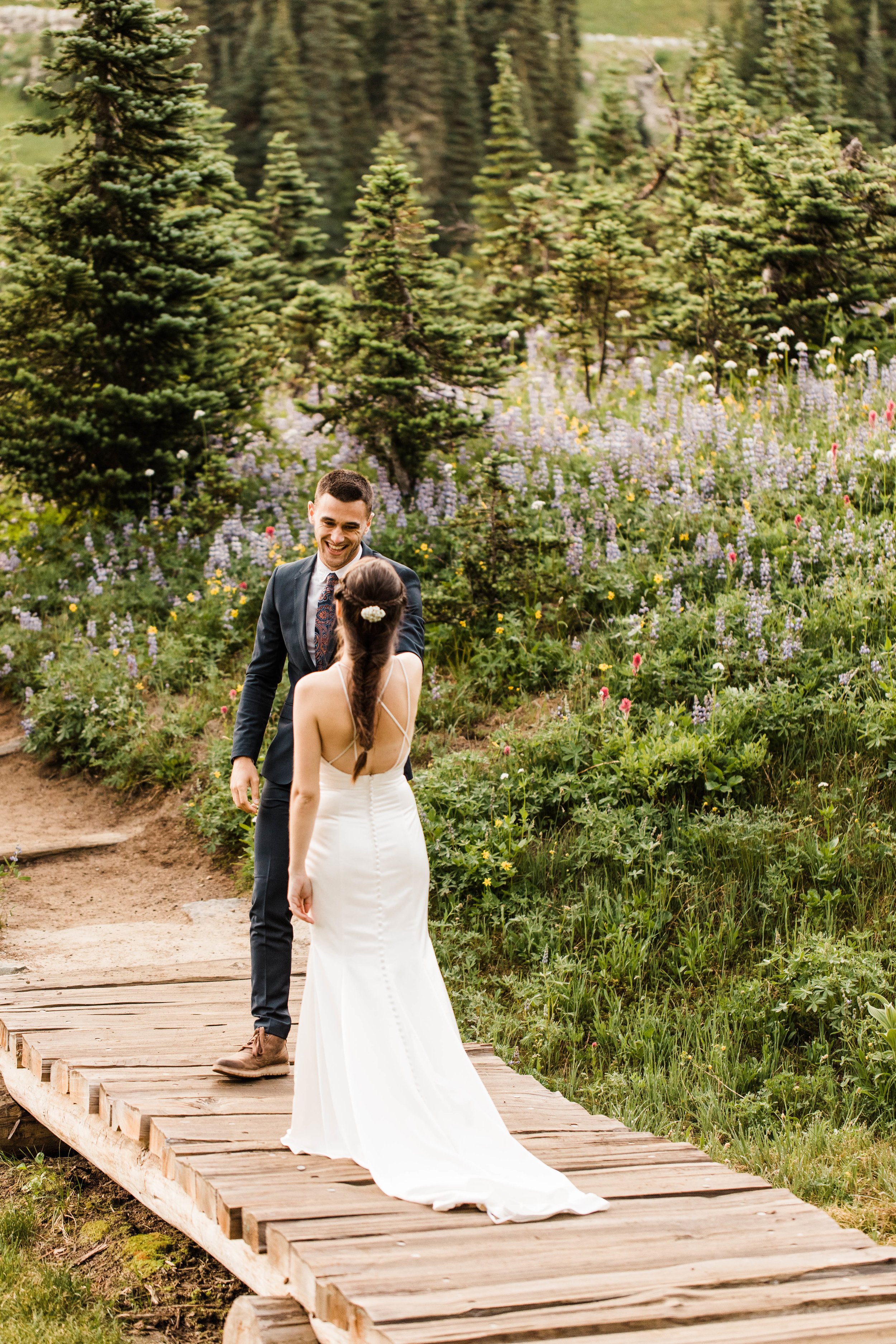 bride and groom's elopement first look in Mount Rainier | Washington national park elopement photographers