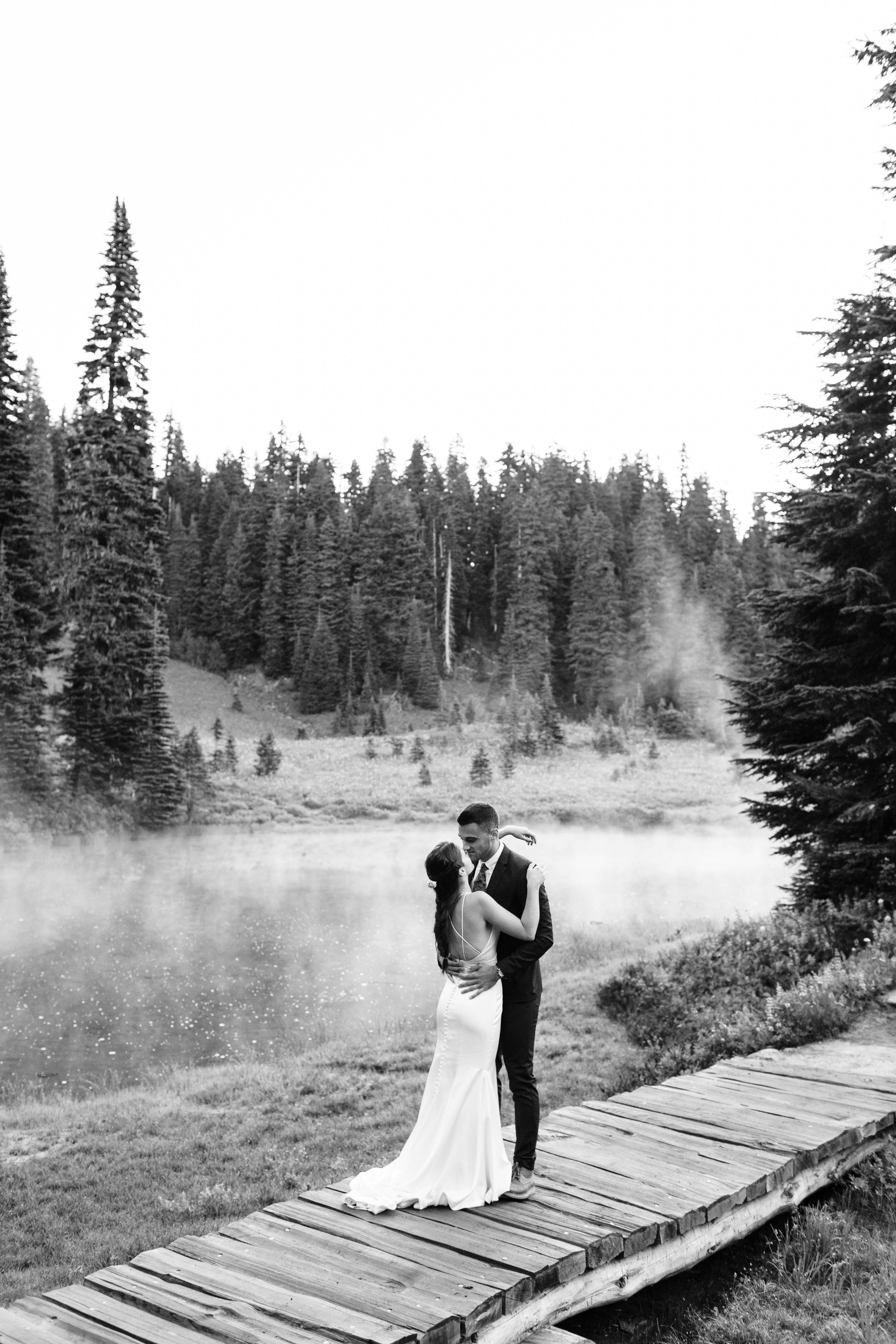 bride and groom's elopement first look in Mount Rainier | Washington state national park adventure elopement photographers