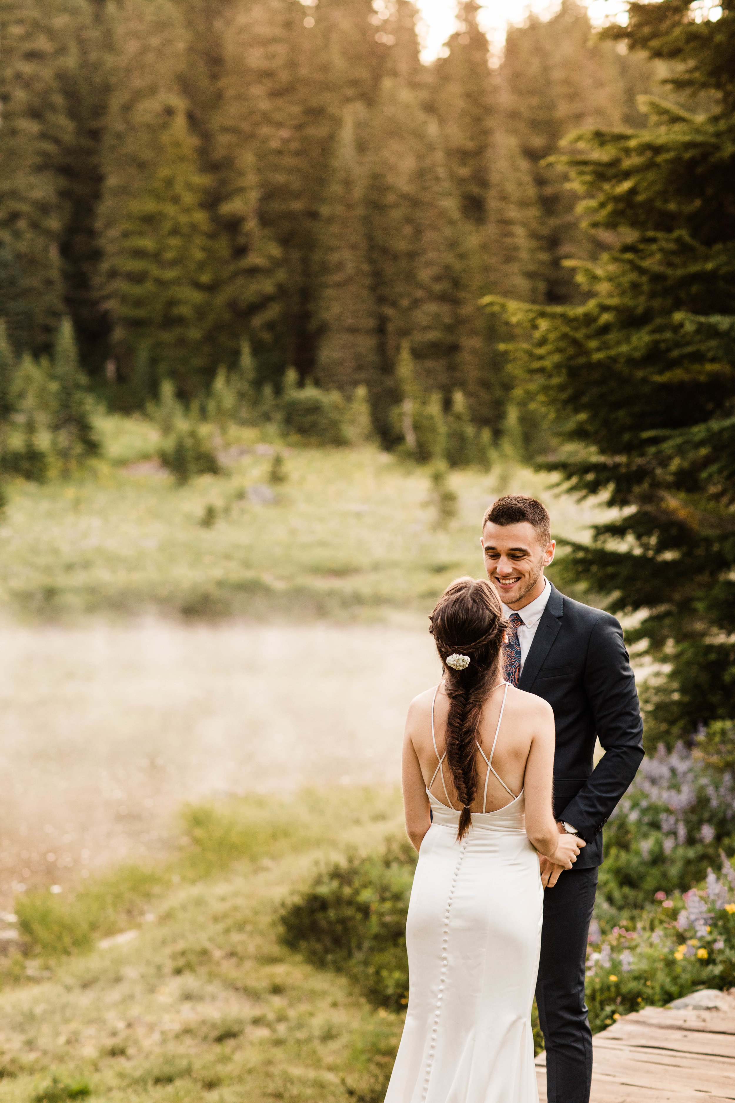 bride and groom's elopement first look in Mount Rainier | Seattle Washington national park elopement photographers