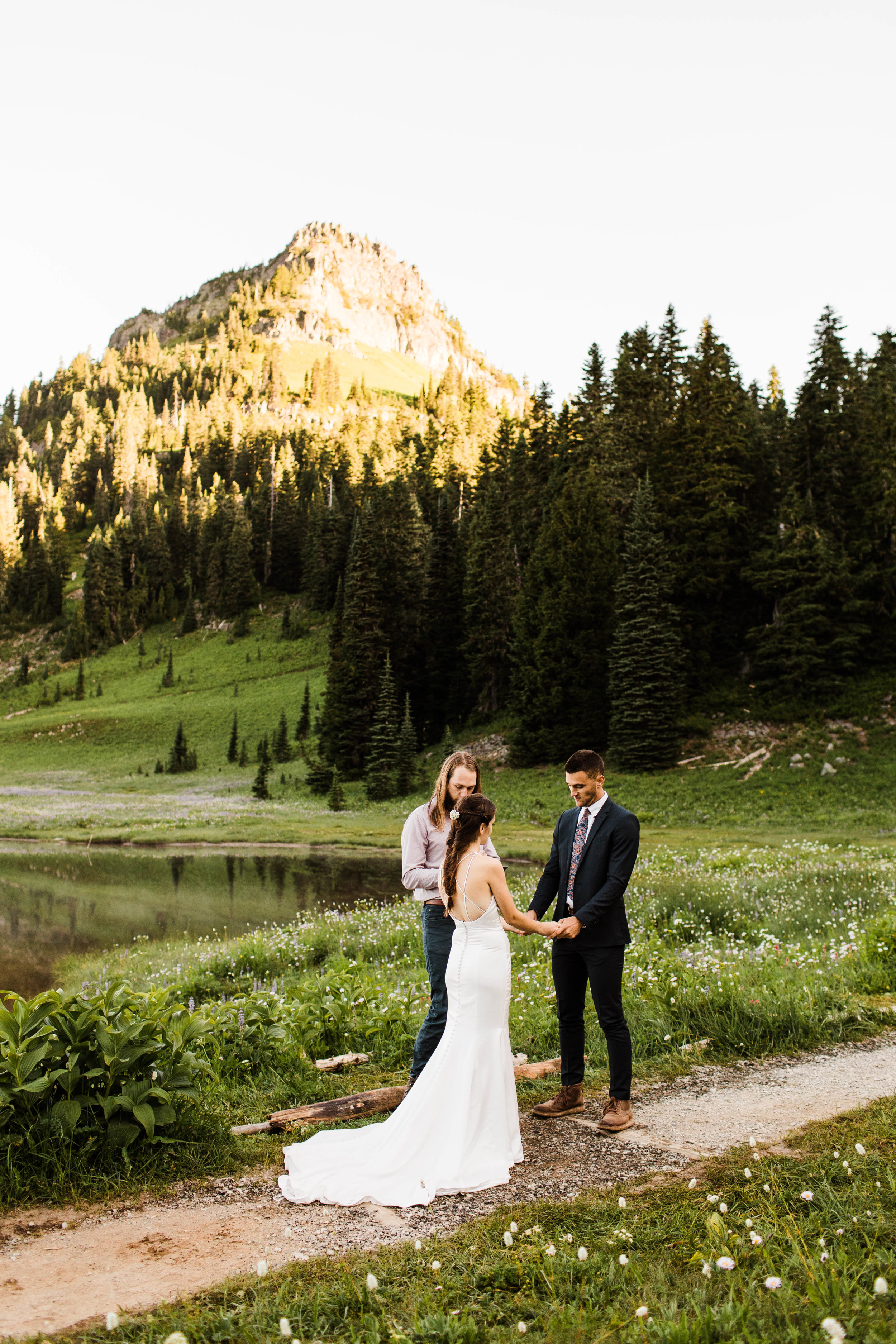 Mount Rainier National Park elopement ceremony in the mountains | Seattle Washington adventure wedding photographers
