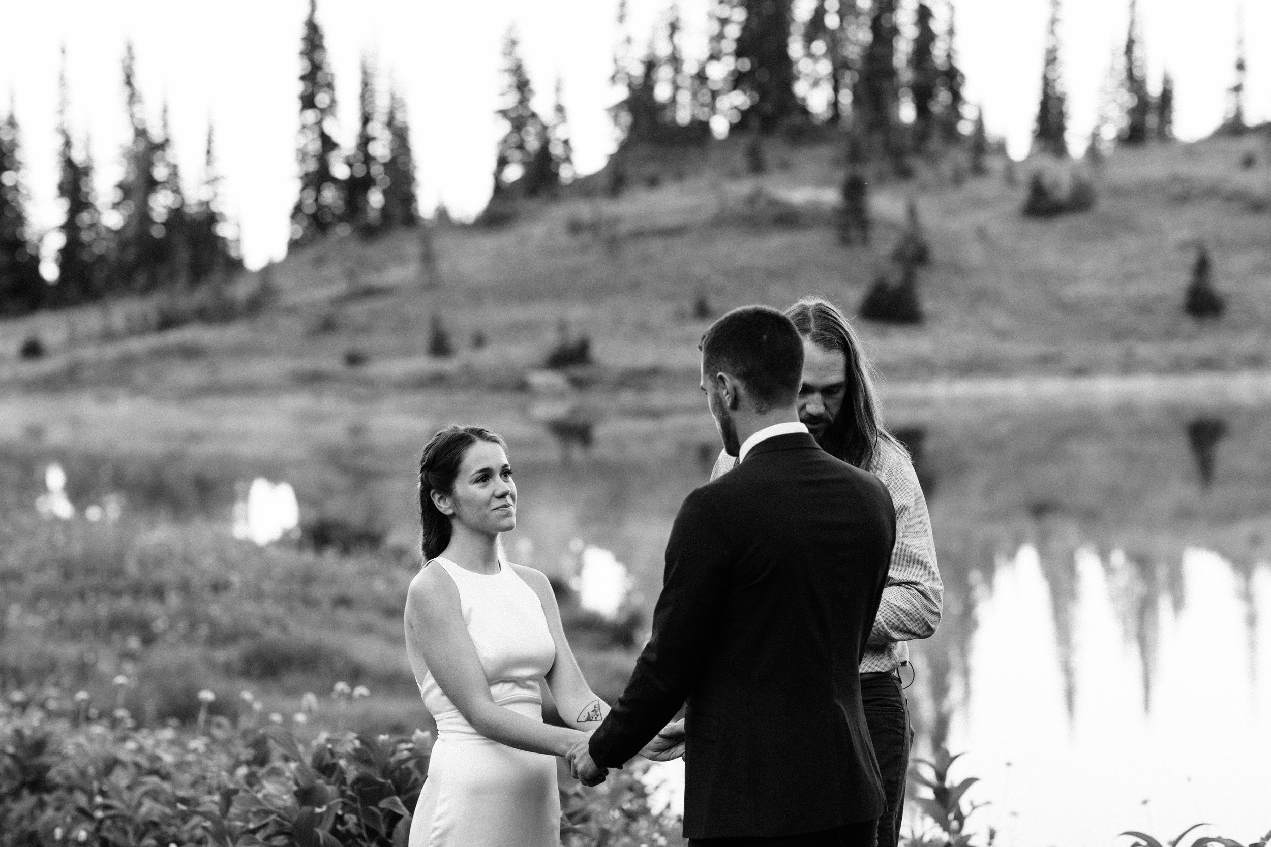 Mount Rainier elopement ceremony in the mountains | Washington national park adventure wedding photographers