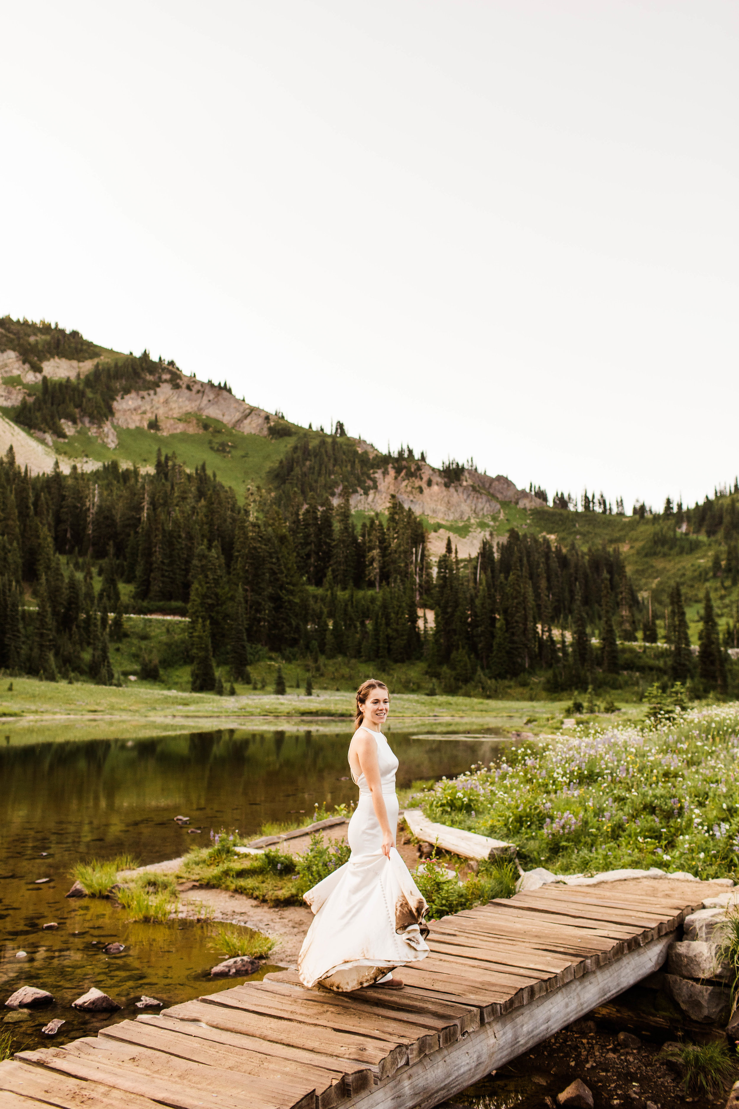 bridal photos during an adventurous national park elopement in Mount Rainier | Washington state elopement and adventure wedding photographers