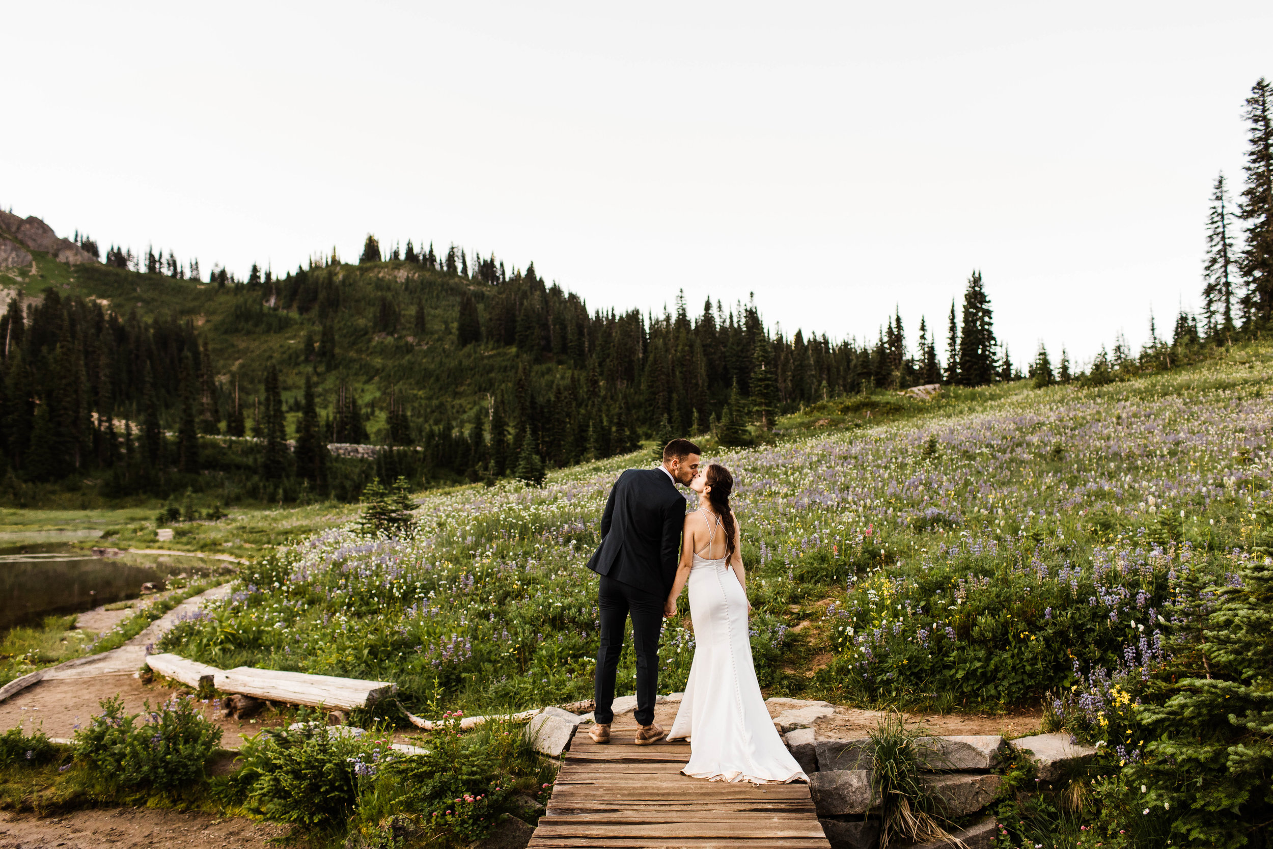 alpine meadow elopement photos in Mount Rainier | national park elopement photographers in Washington state
