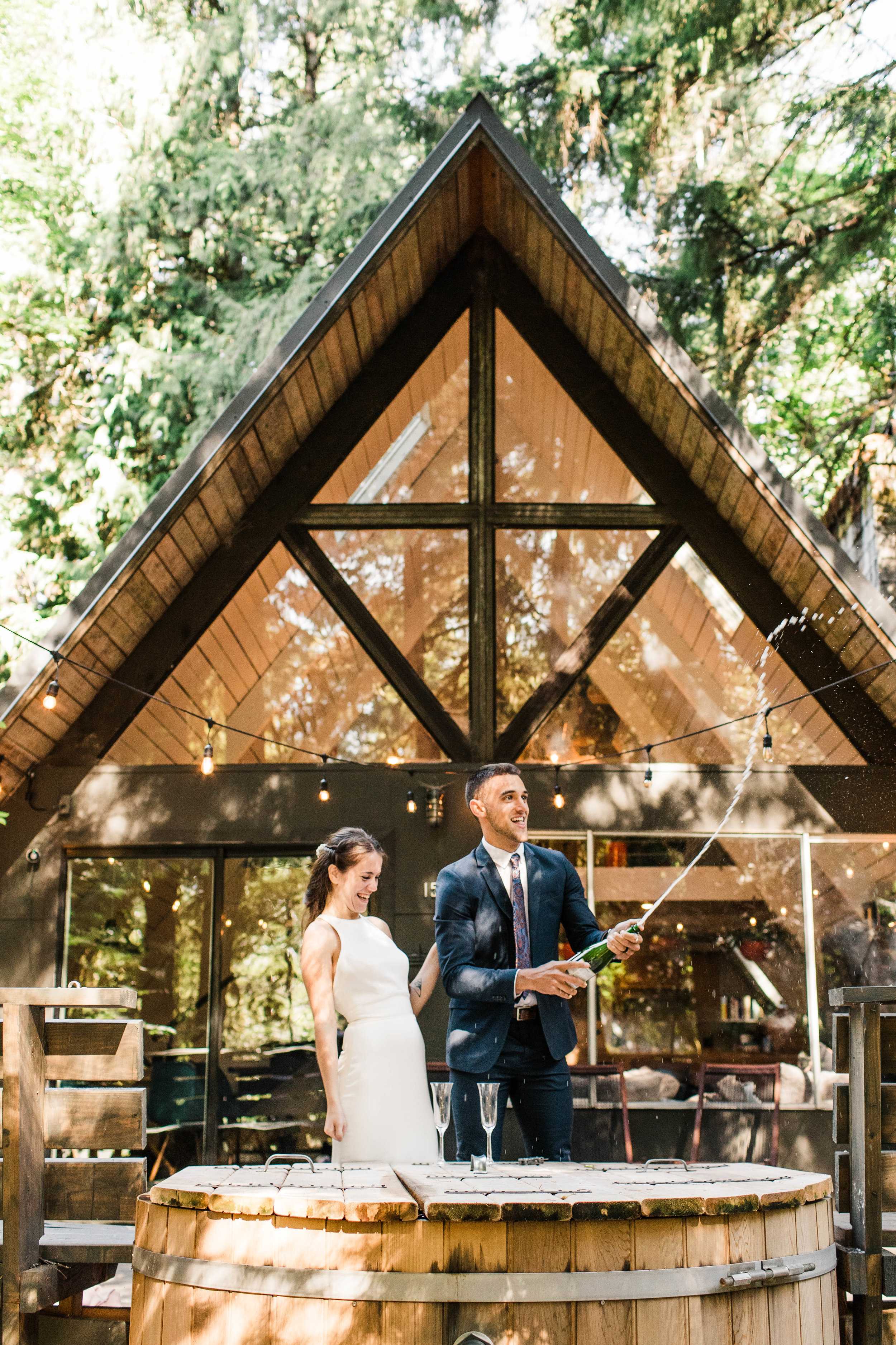 elopement champagne toast in Mt Rainier National Park | Washington state adventure wedding and elopement photographers